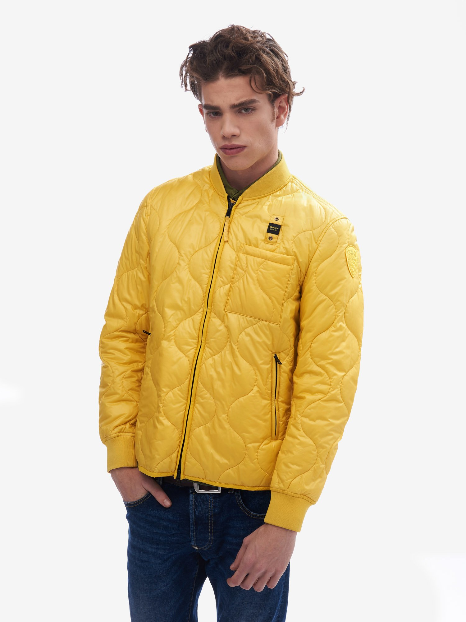 Blauer - BEGUM WAVE DOWN JACKET WITH ECO PADDING - Canary - Blauer