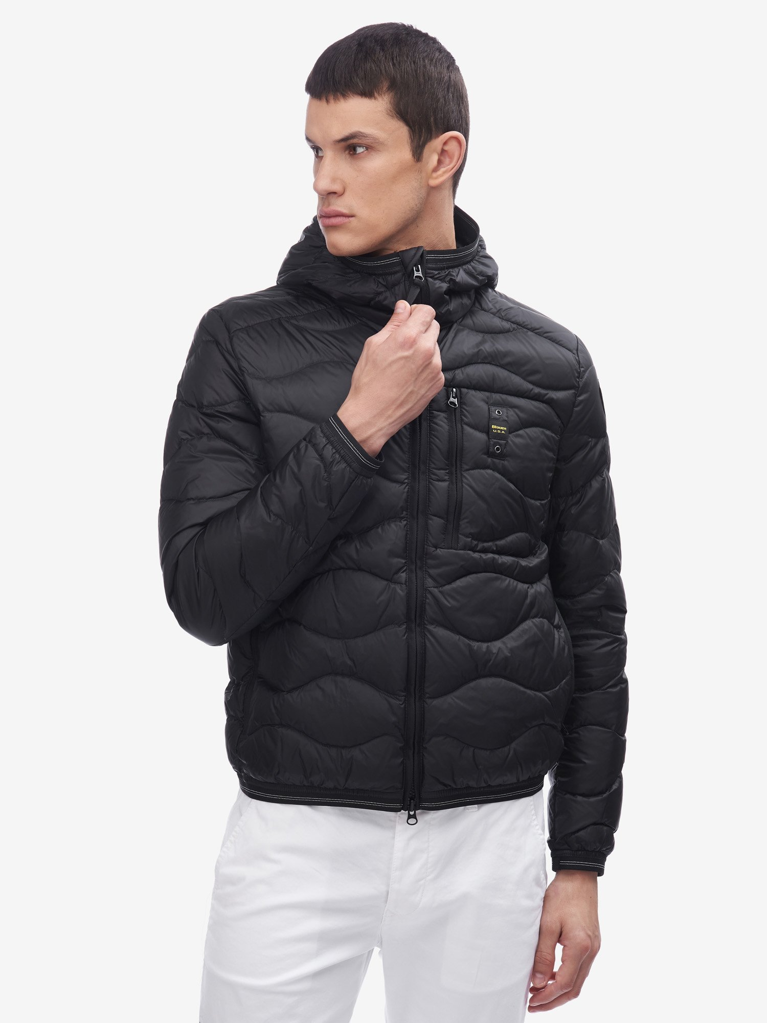 BOLTON HORIZONTAL WAVE-QUILTED DOWN JACKET WITH HOOD - Blauer