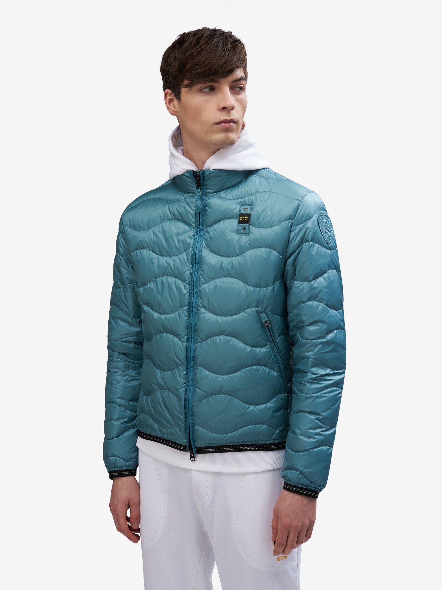Blauer - BRYANT HORIZONTAL WAVE-QUILTED DOWN JACKET - Blue Ocean - Blauer