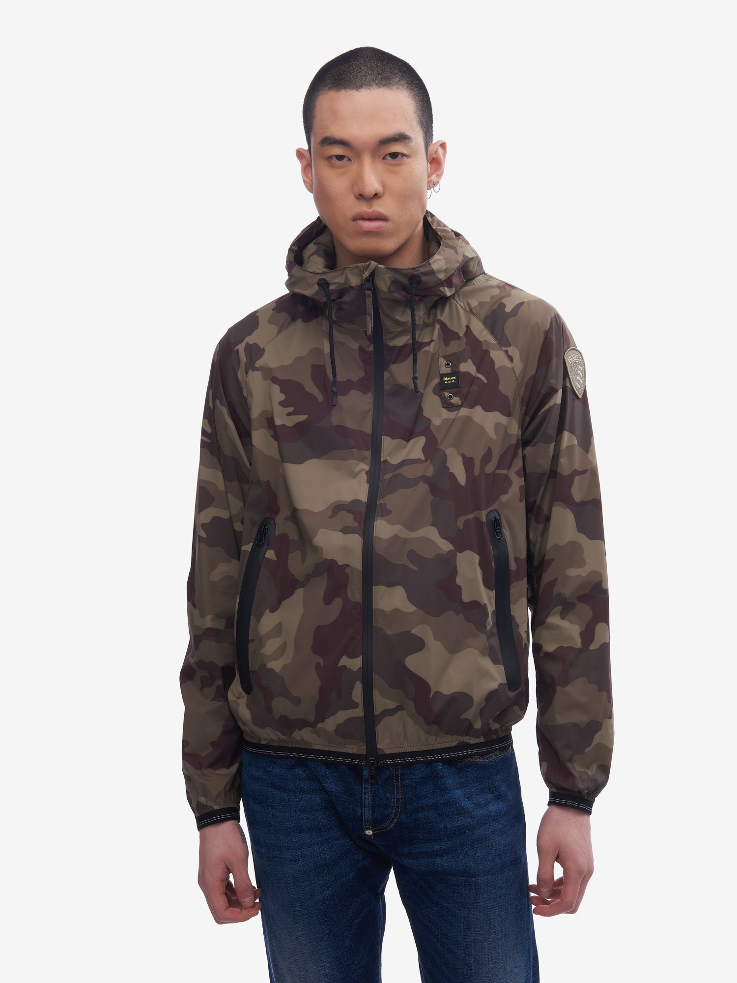 Blauer - SIMMONS CAMOUFLAGE JACKET WITH HOOD - Olive Green - Blauer