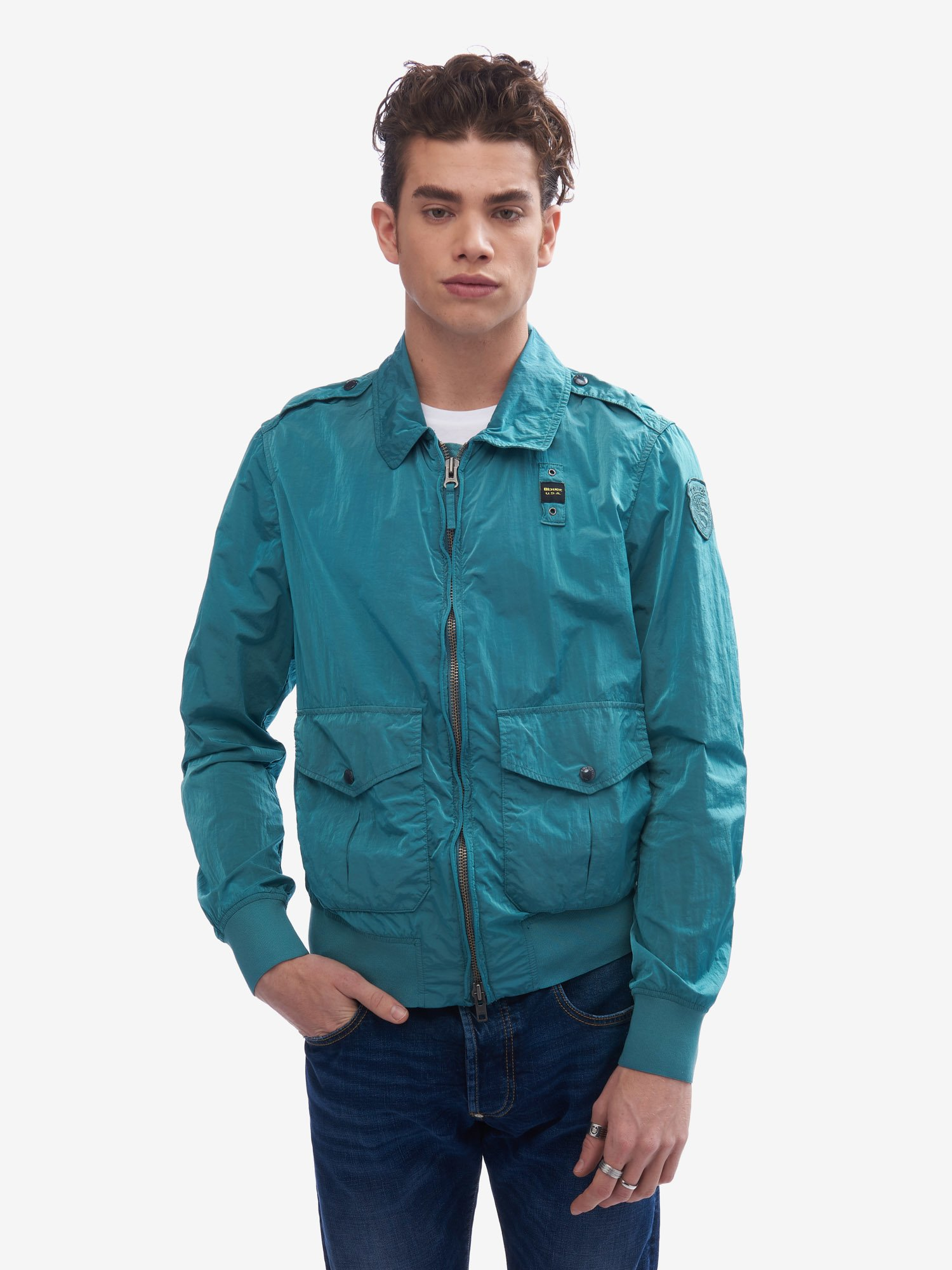 Blauer - PARSON UNLINED GARMENT-DYED JACKET - Blue Ocean - Blauer