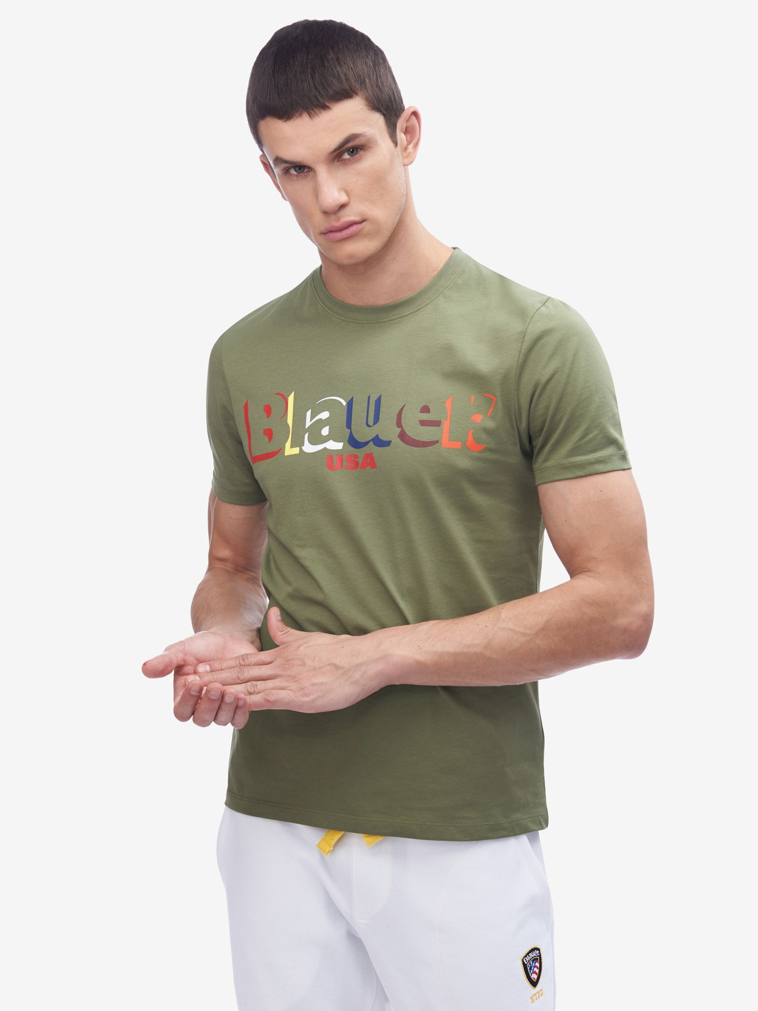 Blauer - COLOURFUL BLAUER T-SHIRT - Olive Green - Blauer