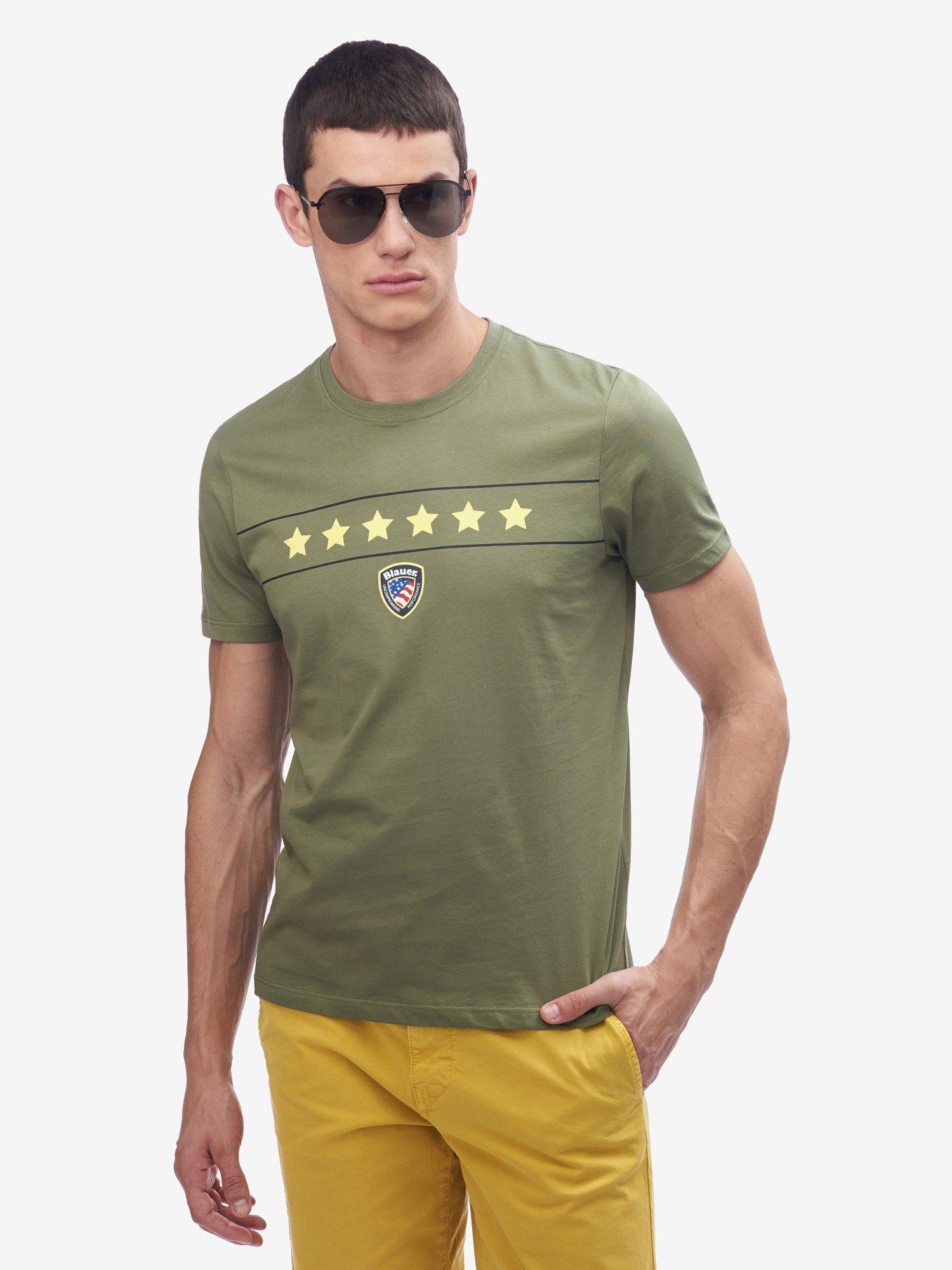 Blauer - SIX STARS T-SHIRT - Olive Green - Blauer