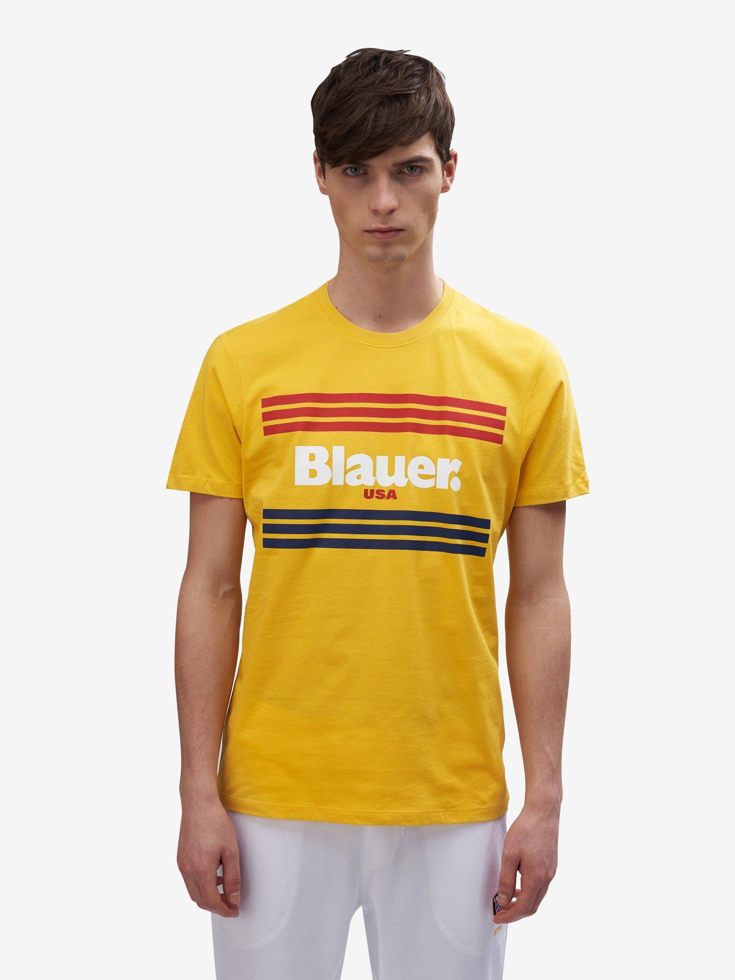 Blauer - STRIPES T-SHIRT - Canary - Blauer