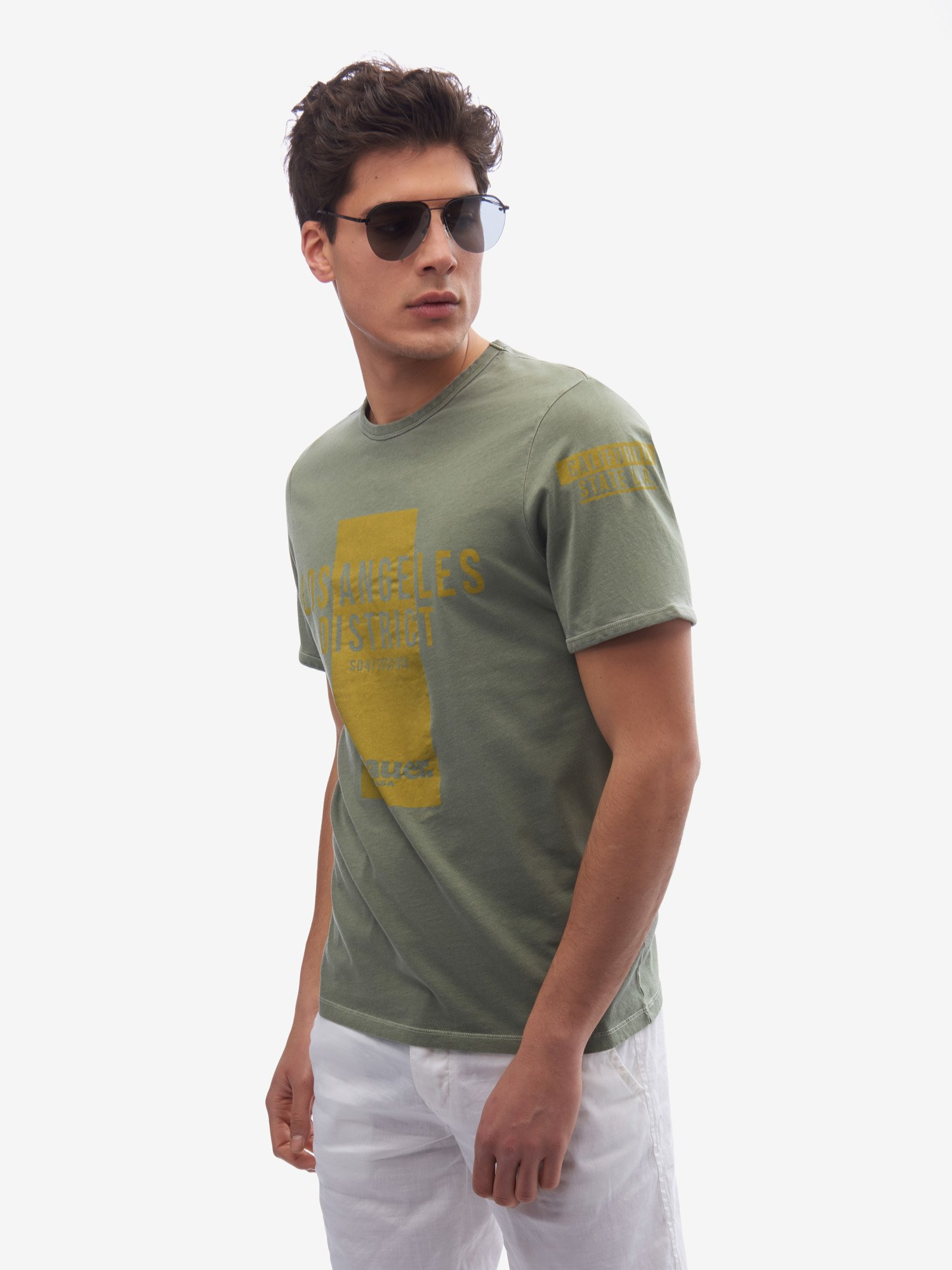 Blauer - CAMISETA LOS ÁNGELES DISTRICT - Olive Green - Blauer