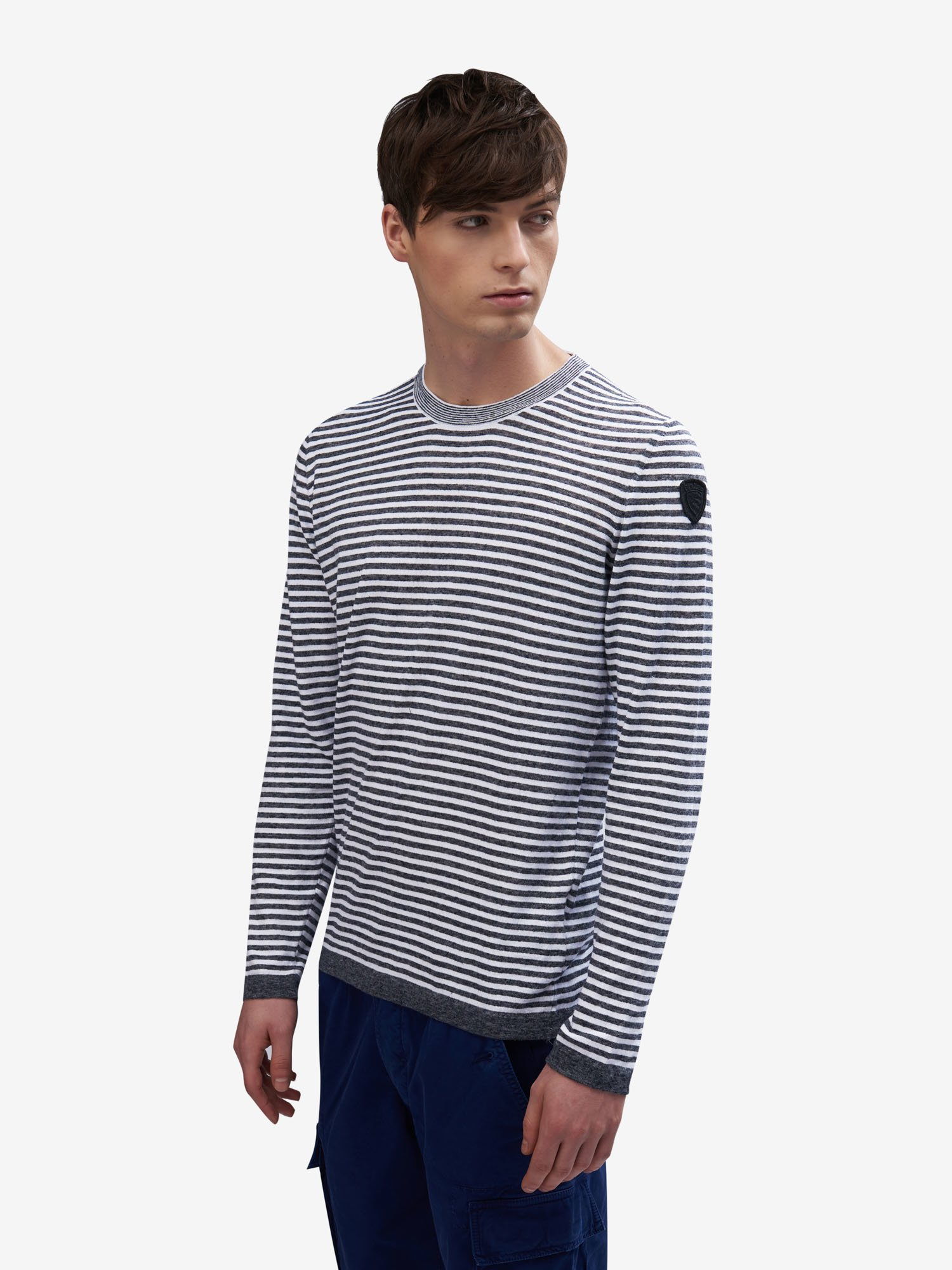 Blauer - STRIPED SWEATER - Antracite Melange - Blauer