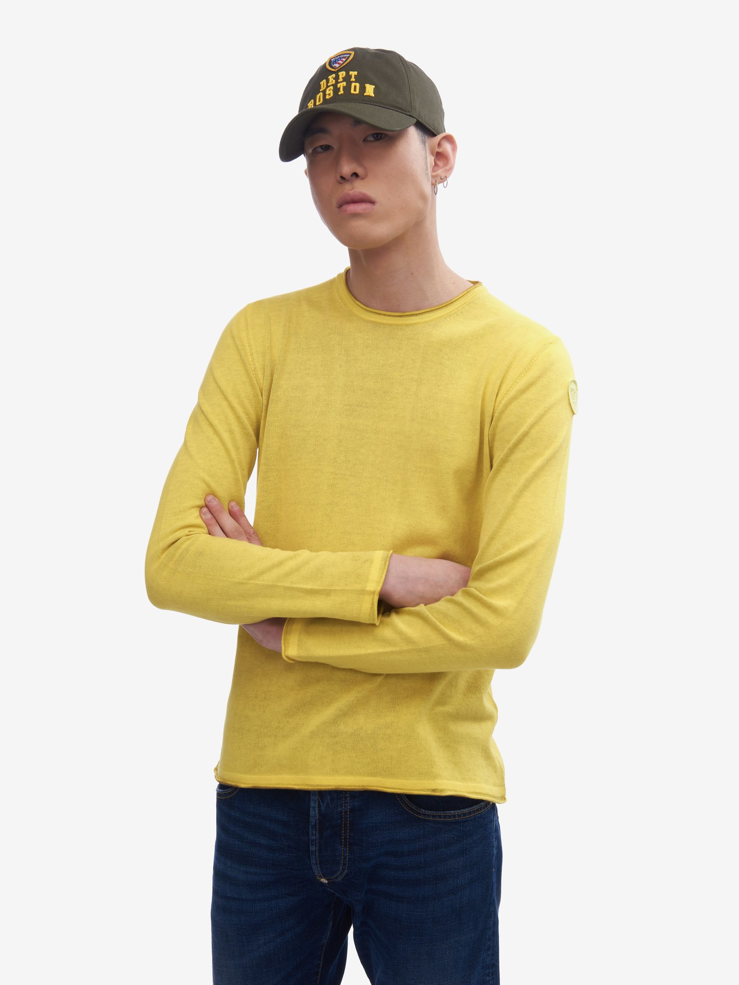 TWO-TONE EFFECT PLAIN KNIT SWEATER - Blauer