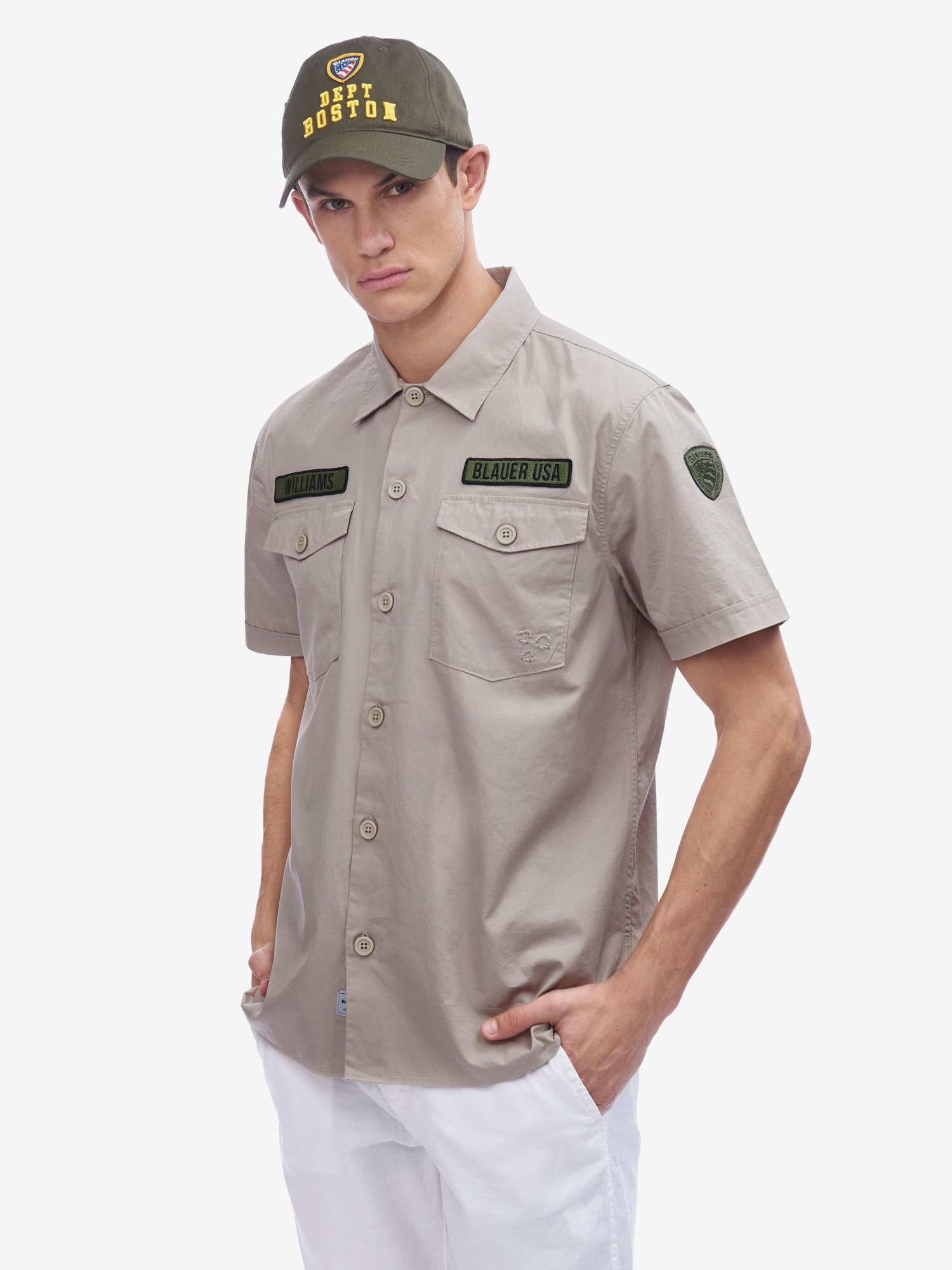 Blauer - SHORT SLEEVE MILITARY SHIRT - Gray Sand - Blauer