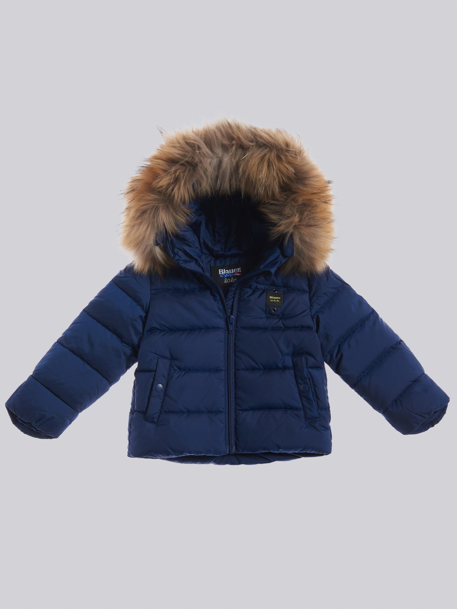 LUIS BABY DOWN JACKET WITH HOOD AND FUR - Blauer