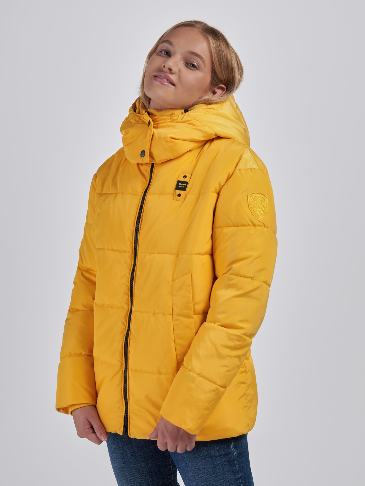 Blauer - MICHELLE RECYCLED LONG JACKET - Yellow Vivid - Blauer