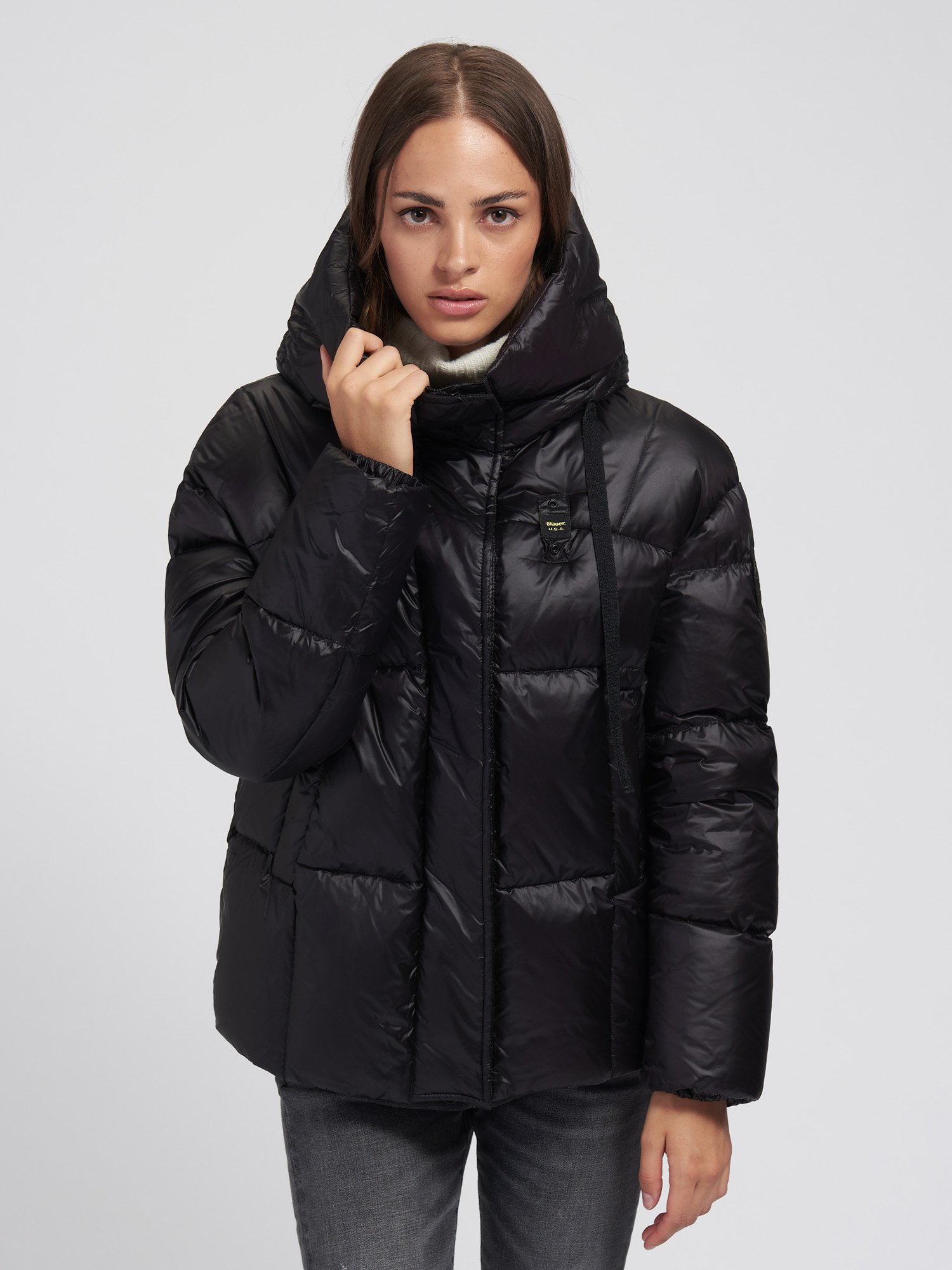 SARAH SHINY DOWN JACKET WITH HOOD - Blauer