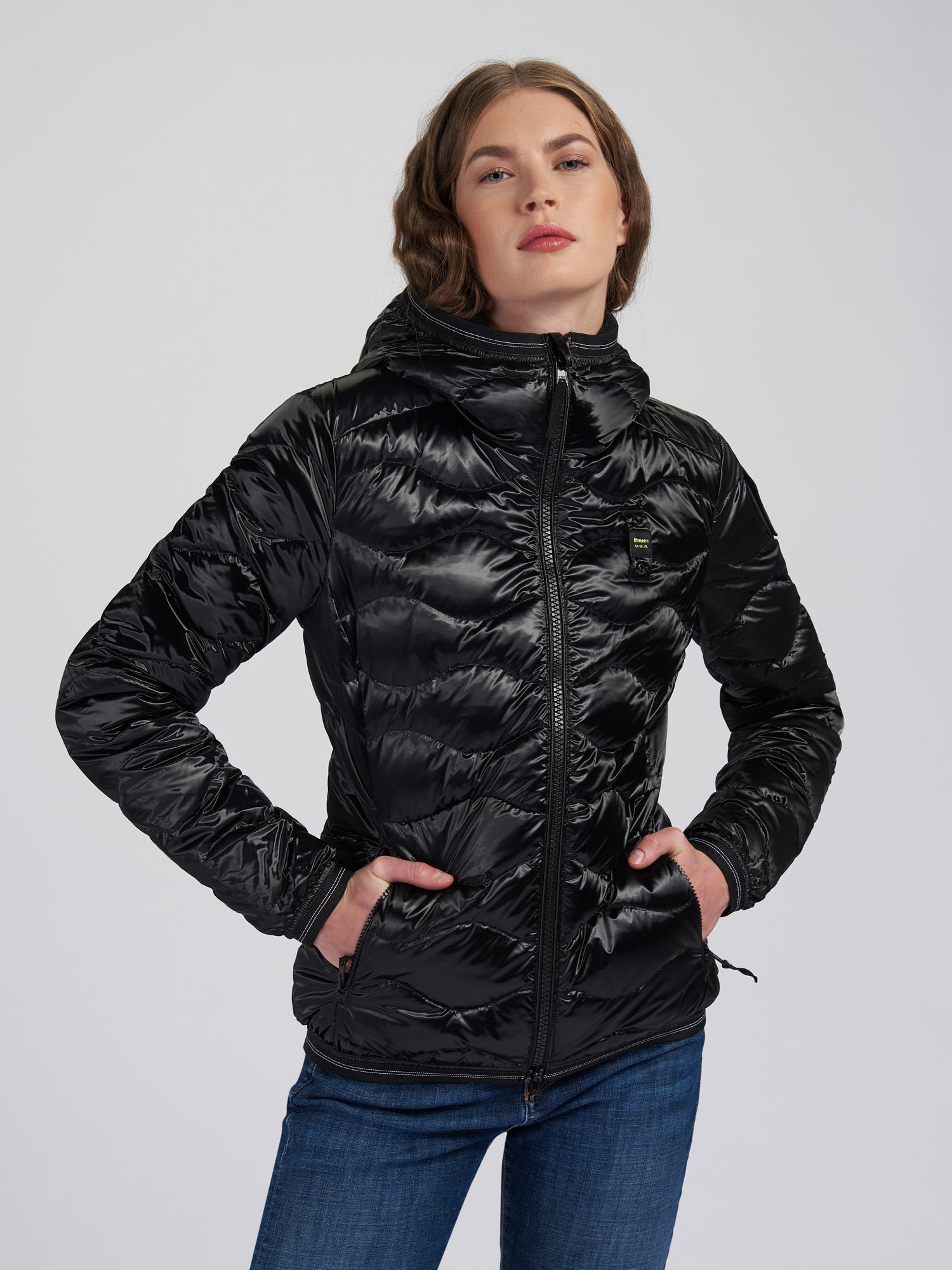 ANGELA SHINY WAVE-QUILTED DOWN JACKET - Blauer