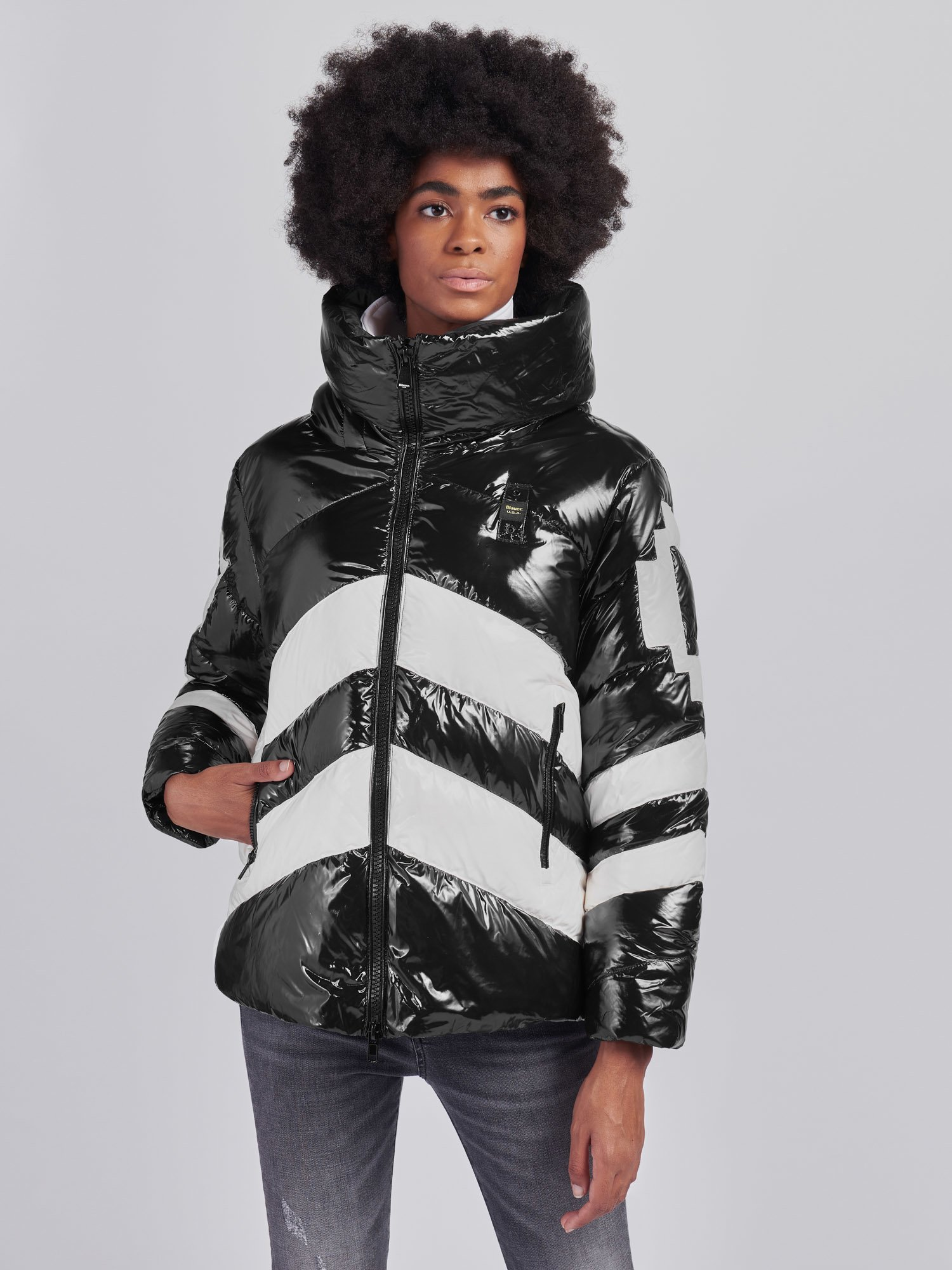 Blauer - AMY TWO-TONE DOWN JACKET WITH HOOD - Black - Blauer