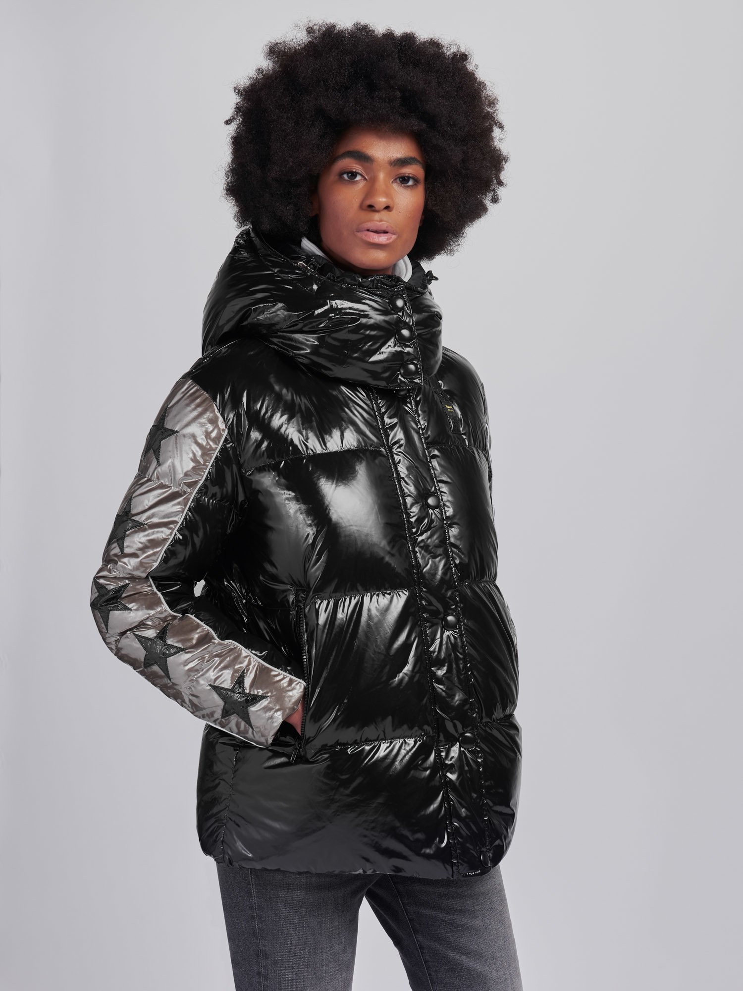 Blauer - CYNTHIA SUPER SHINY TWO-TONE DOWN JACKET - Black - Blauer