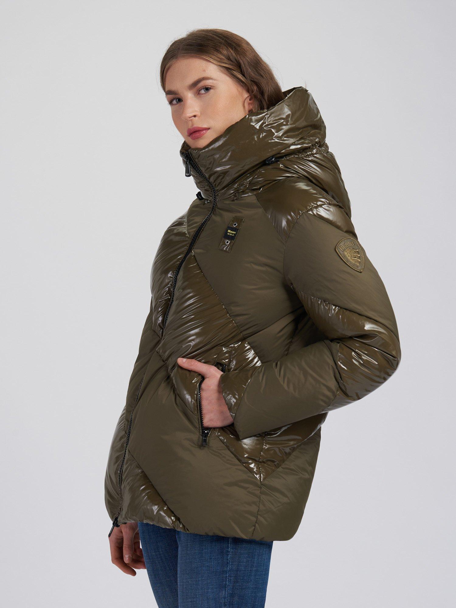 Blauer - ANNA SHINY-MATTE DOWN JACKET - Light Military Green - Blauer