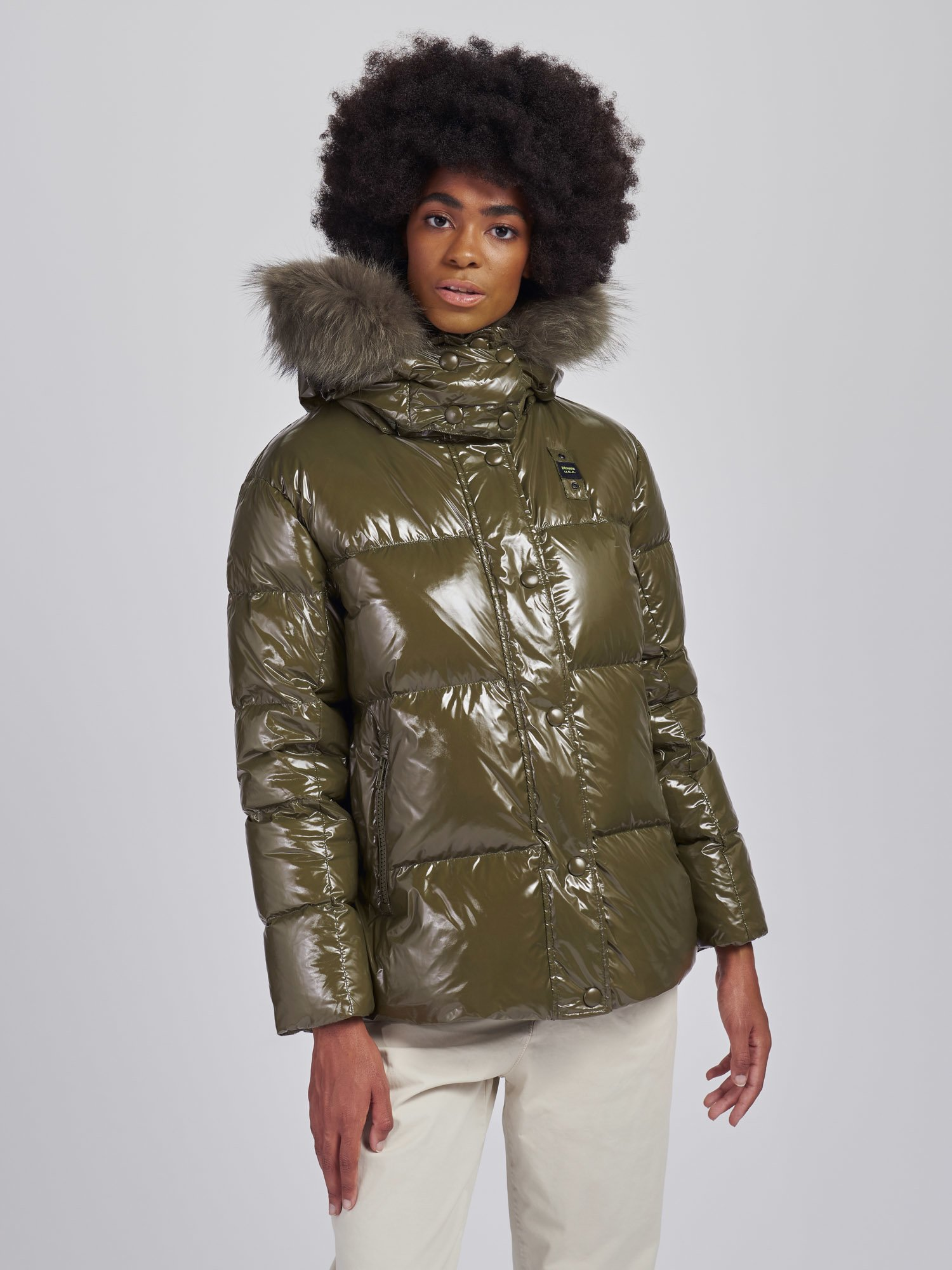 BRENDA DOWN JACKET WITH FUR HOOD TRIM - Blauer