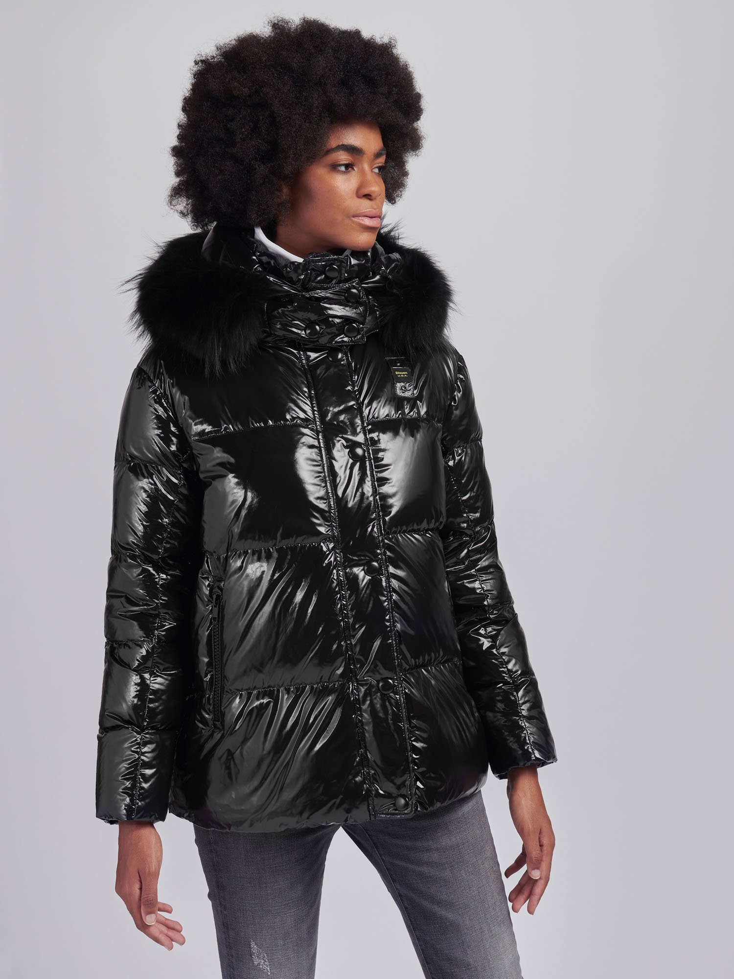Blauer - BRENDA DOWN JACKET WITH FUR HOOD TRIM - Black - Blauer