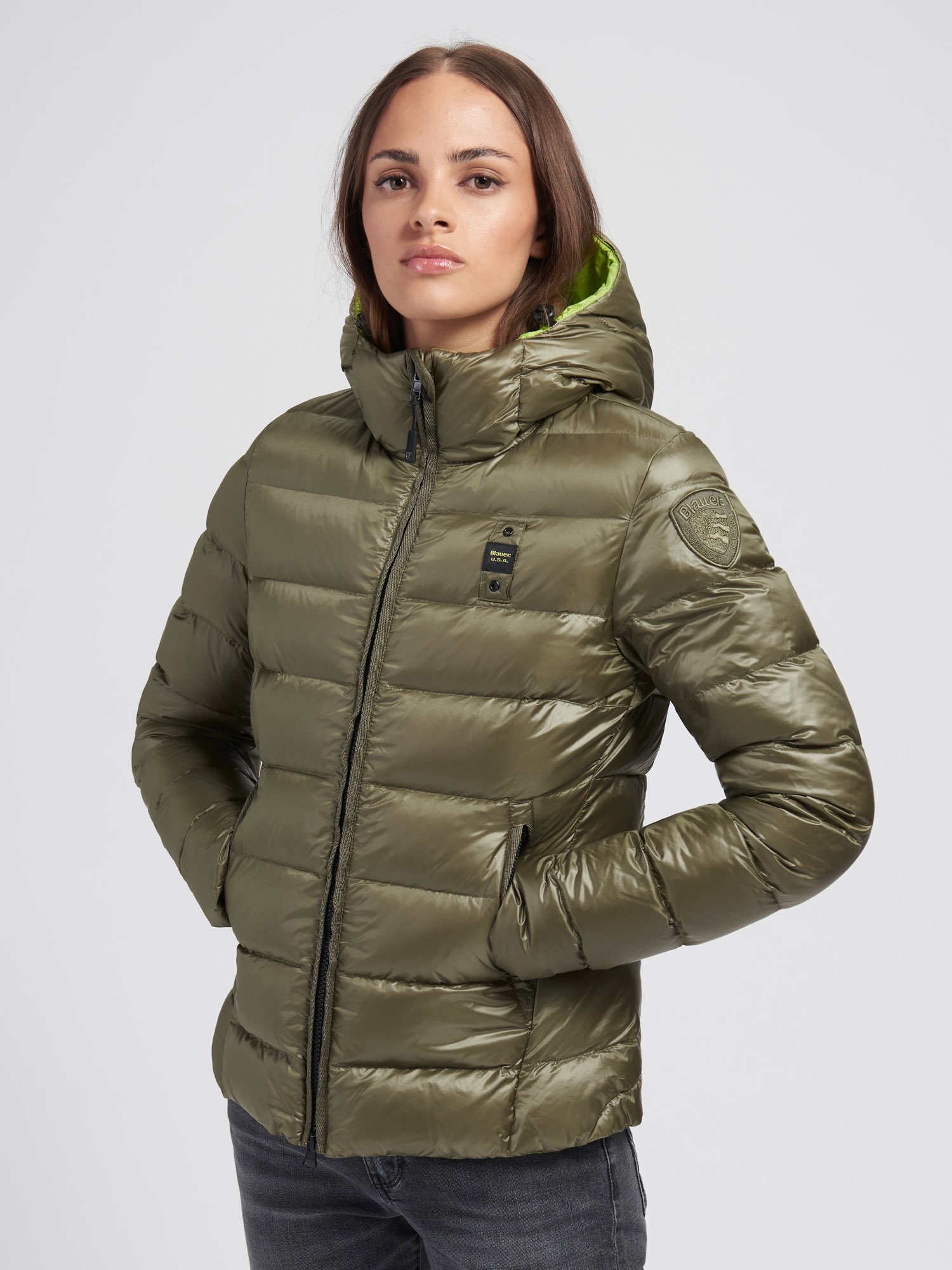 Blauer - KIMBERLY WOMENS QUILTED DOWN JACKET WITH HOOD - Light Green  Ins. Absinthe - Blauer