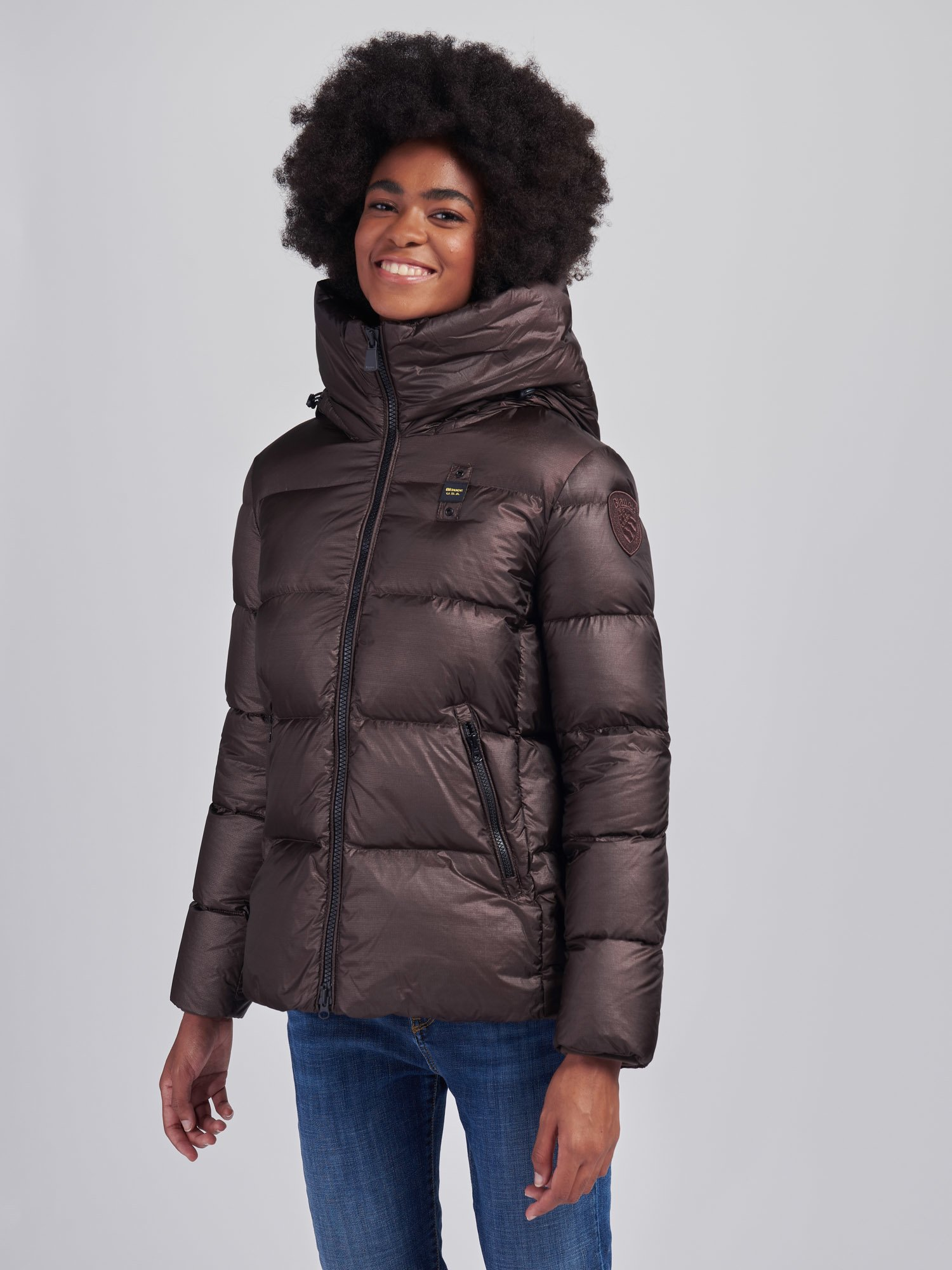 Blauer - LAURA FLARED DOWN JACKET WITH HOOD - Marron Glace - Blauer