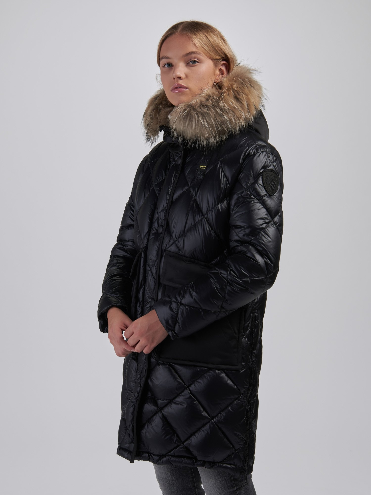 DIANE LONG DOWN JACKET WITH SIDE SLITS - Blauer