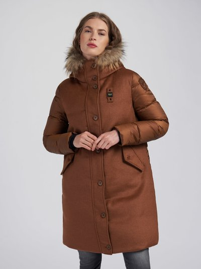 JULIE LONG WOOL BLEND DOWN COAT