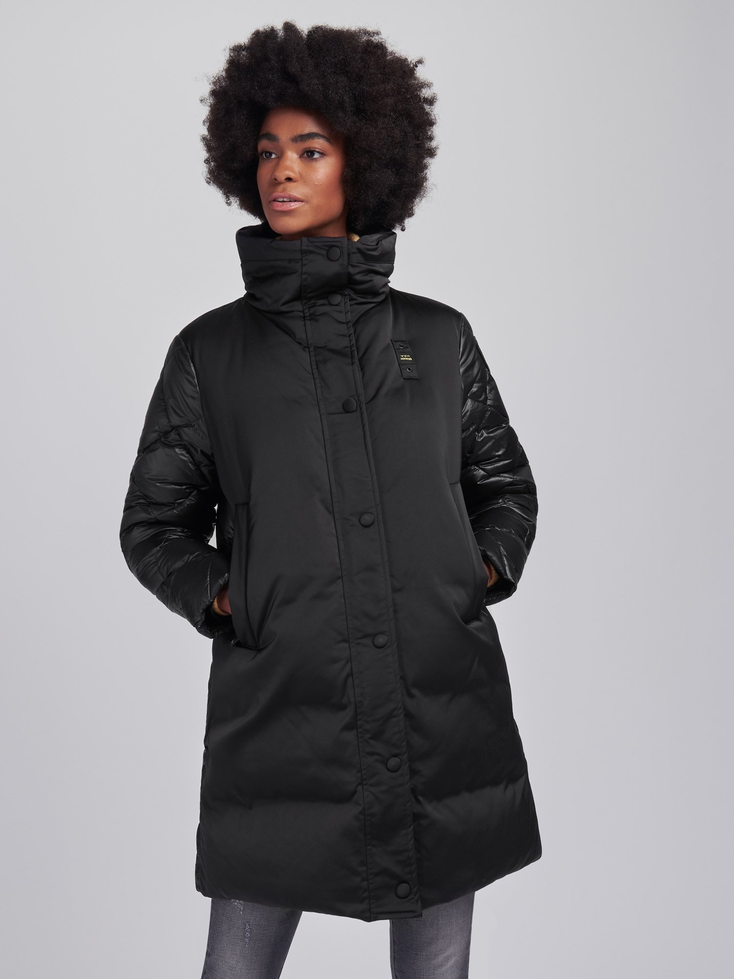 Blauer - ANN SATIN AND NYLON LONG DOWN JACKET - Black - Blauer