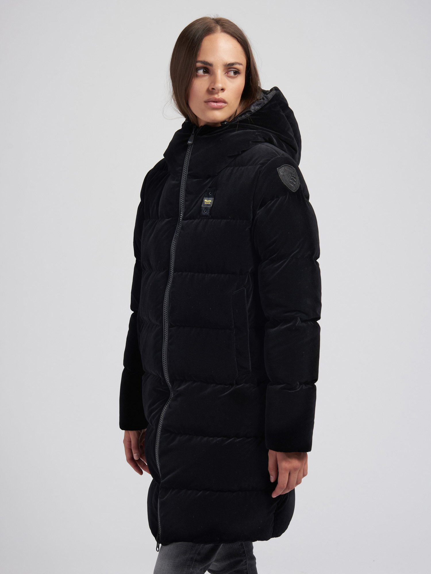 Blauer - ALICE LONG DOWN JACKET IN VELVET - Black - Blauer