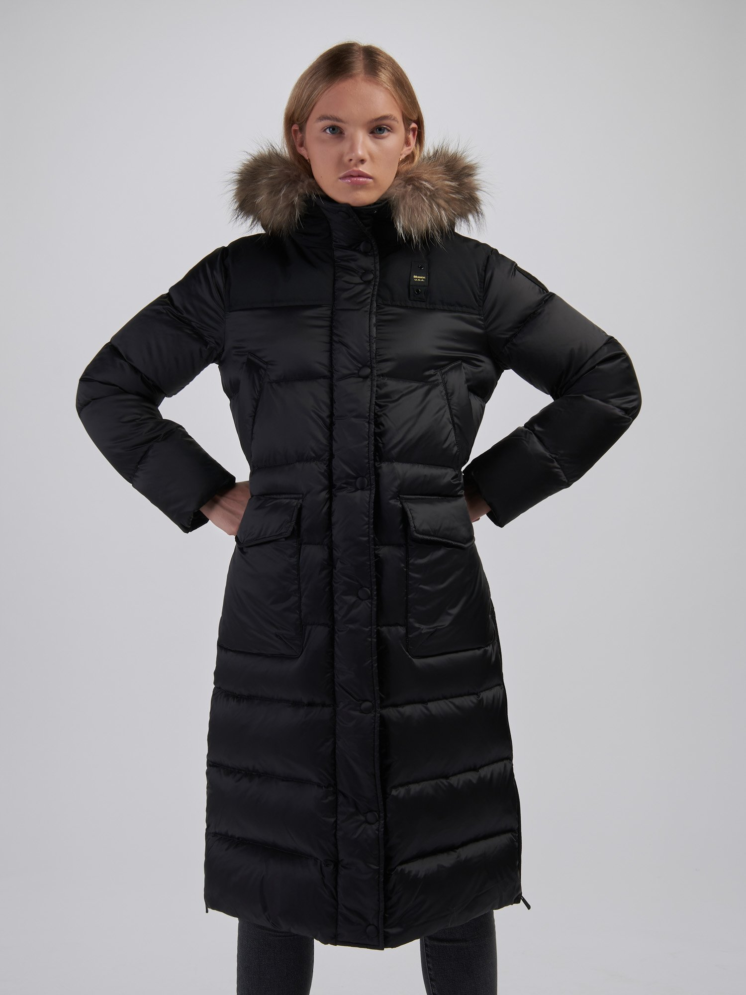 JOYCE NYLON AND TASLAN LONG DOWN JACKET - Blauer