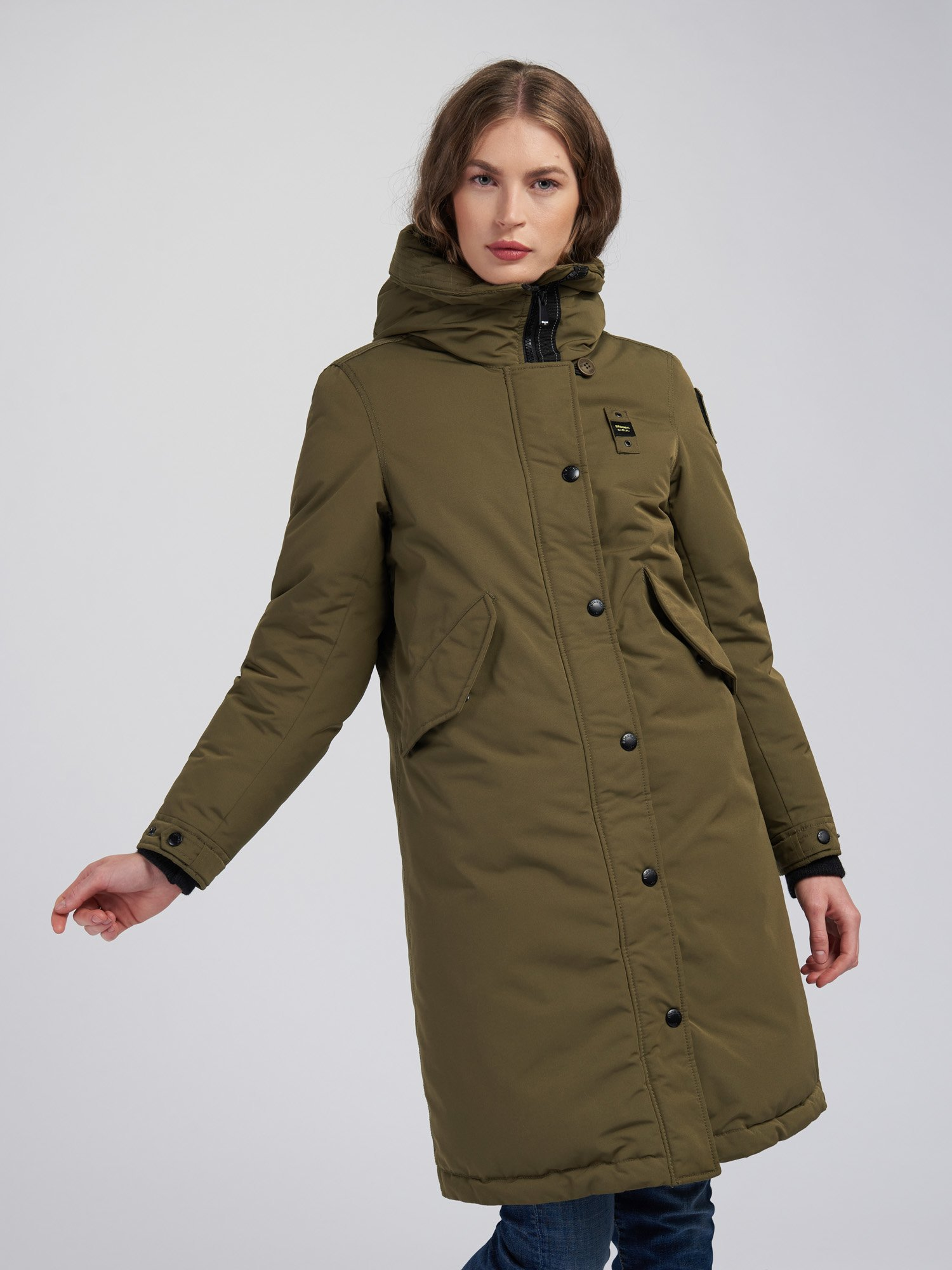 Blauer - JUDITH LONG PARKA IN LIGHT TASLAN - Light Military Green - Blauer