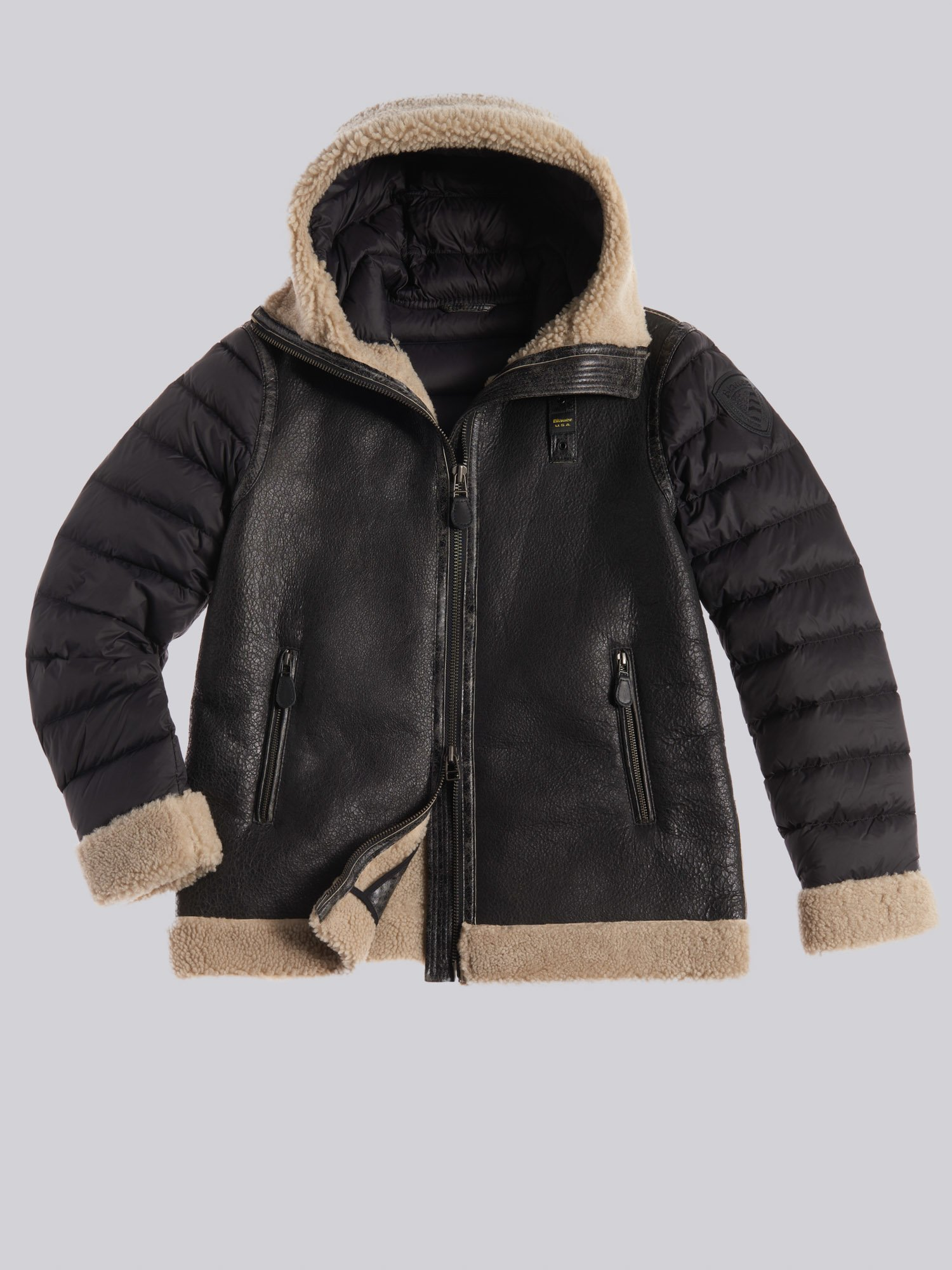 Blauer - LINDA SUEDE SHEARLING WITH HOOD - Black - Blauer