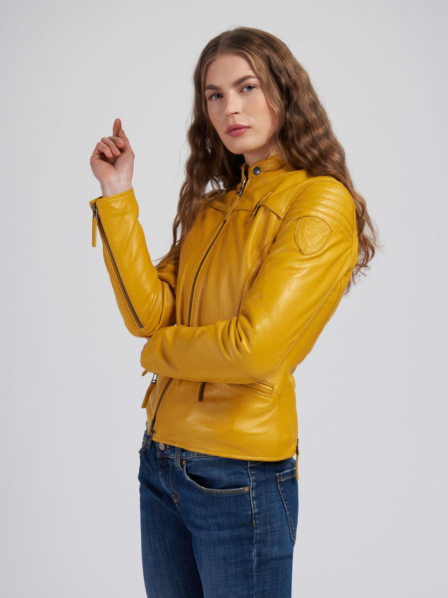 Blauer - LISA LEATHER JACKET - Yellow Vivid - Blauer