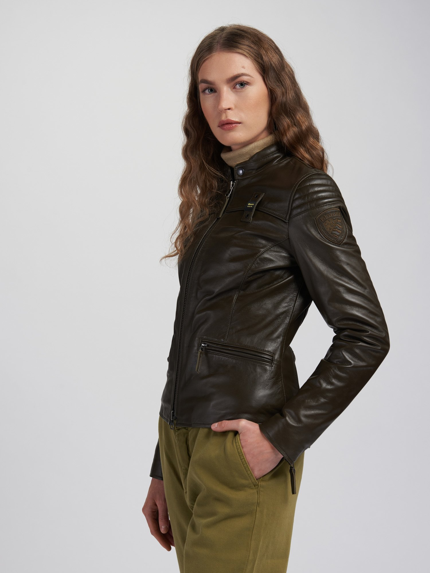 Blauer - BLOUSON EN CUIR LISA - Light Military Green - Blauer