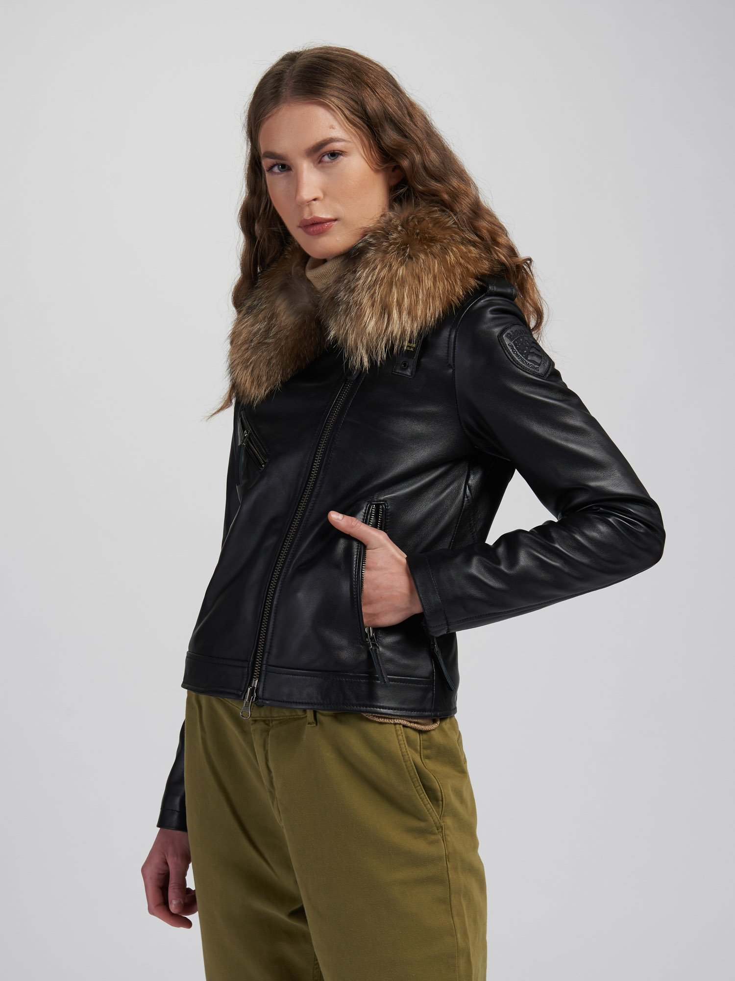 NANCY BIKER JACKET WITH FUR COLLAR - Blauer