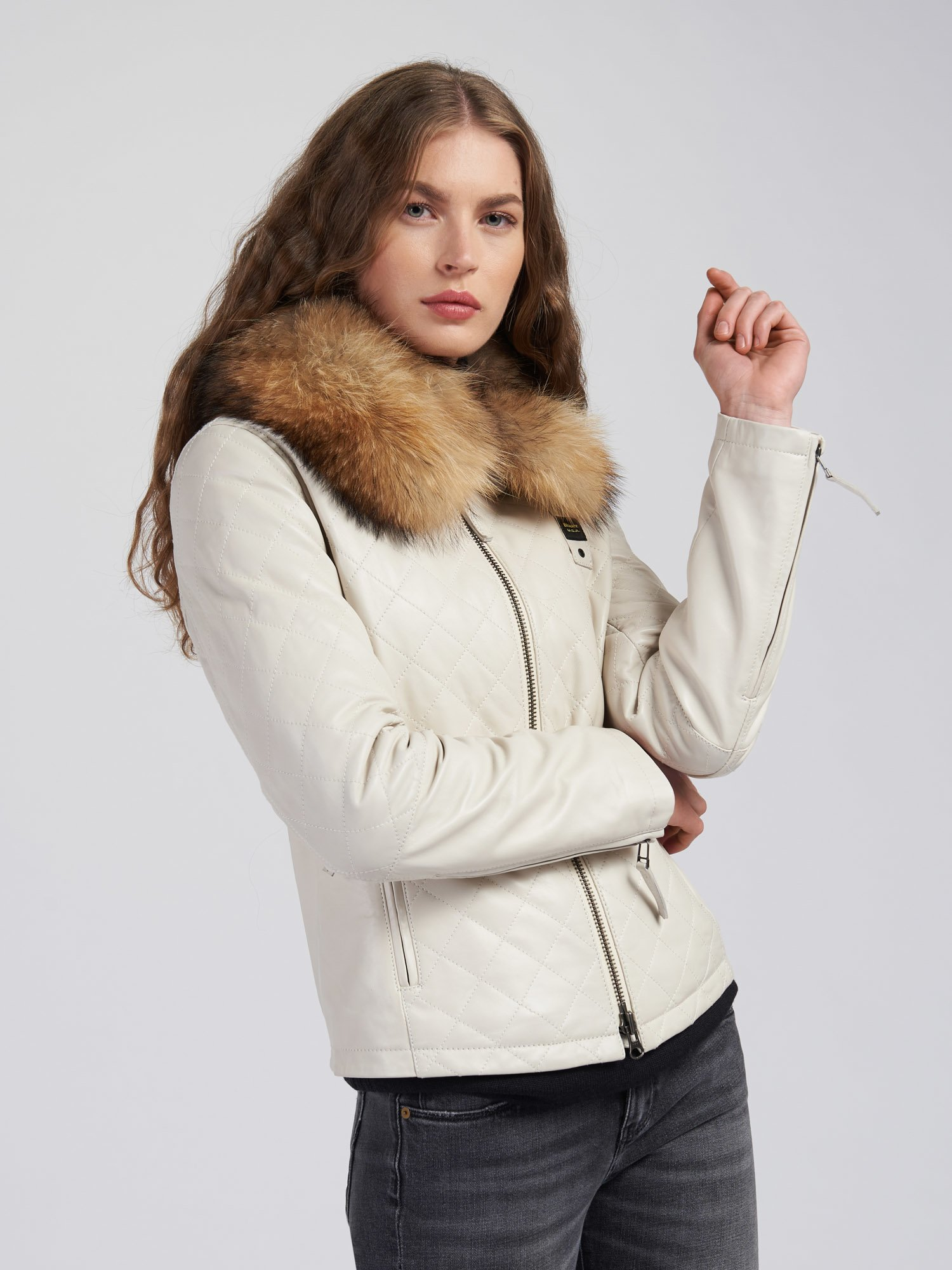 DOROTHY DIAMOND-QUILTED LEATHER JACKET - Blauer