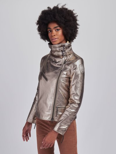SUSAN METALLIC LEATHER BIKER JACKET