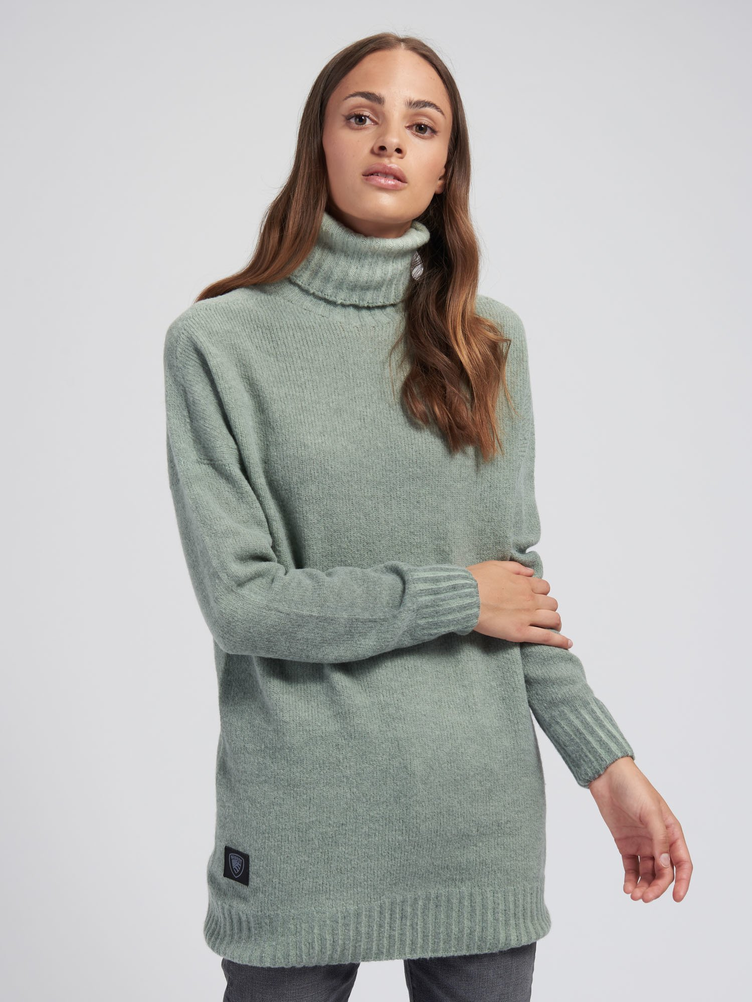 Blauer - PULL COL MONTANT AVEC REVERS - Green North Sea - Blauer