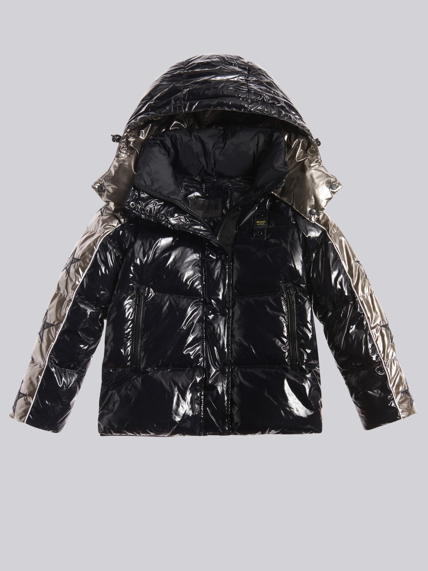 Blauer - IRENE SHINY TWO-TONE DOWN JACKET - черный - Blauer