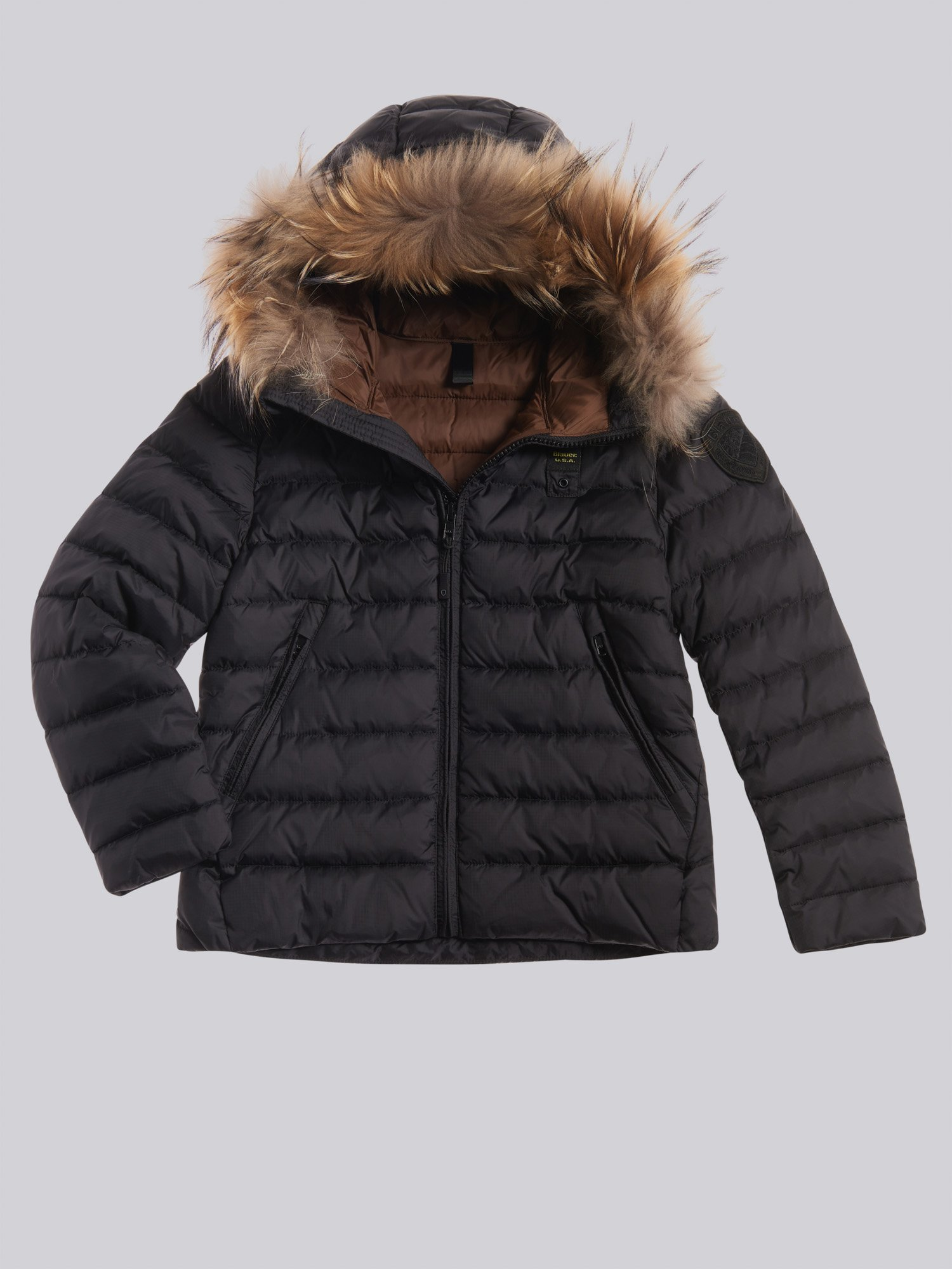 Blauer - NATHAN DOWN JACKET WITH ECO FUR - черный - Blauer