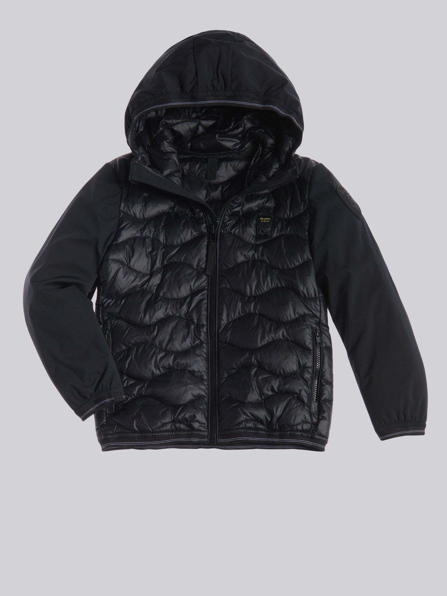 NORMAN NYLON AND NEOPRENE DOWN JACKET - Blauer