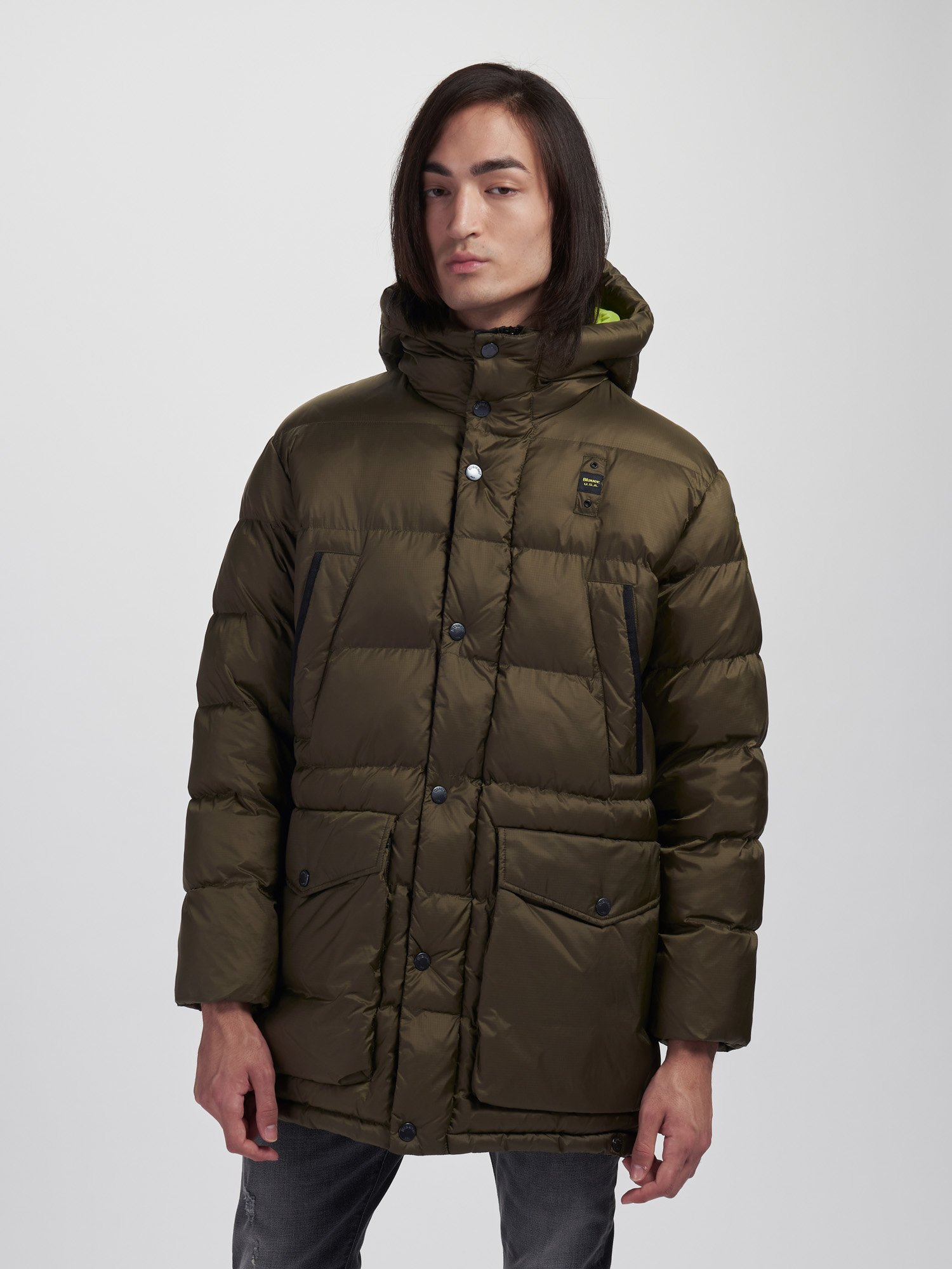 Blauer - ROGER LONG JACKET IN NYLON WITH HOOD - Light Military Green - Blauer