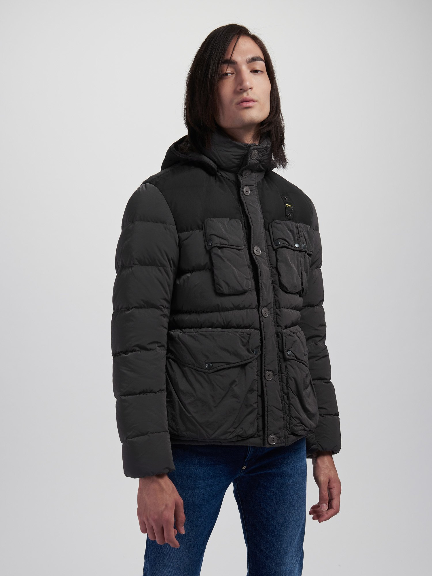 Blauer - CARL DOWN JACKET IN NYLON AND TASLAN - Dolomite Grey - Blauer