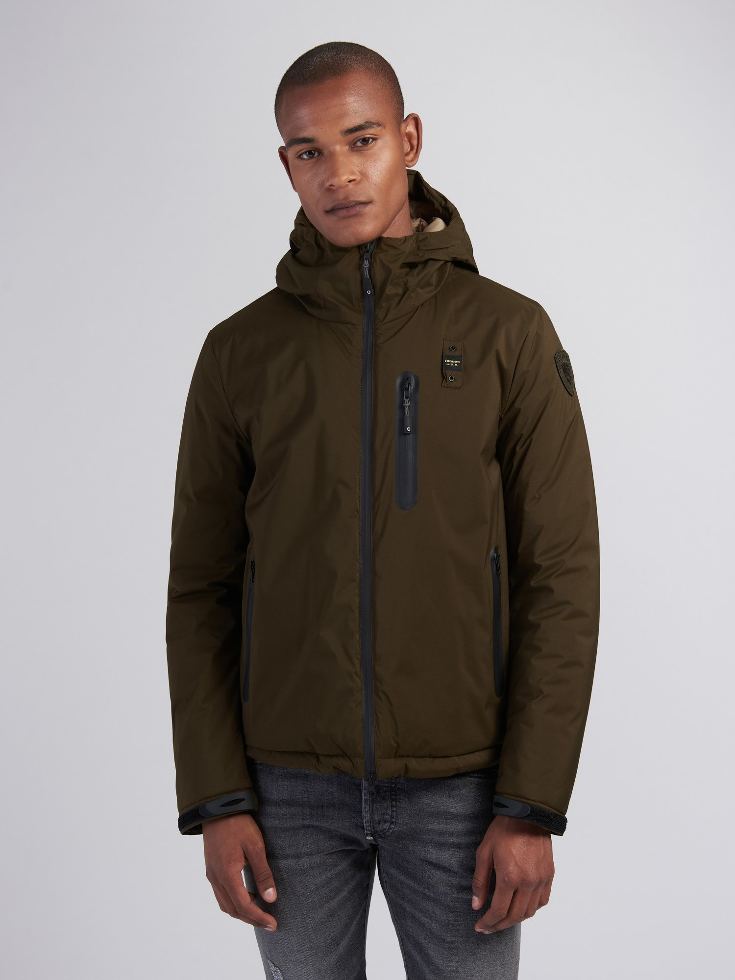 Blauer - EUGENE JACKET WITH ECO-FRIENDLY PADDING - Light Military Green - Blauer