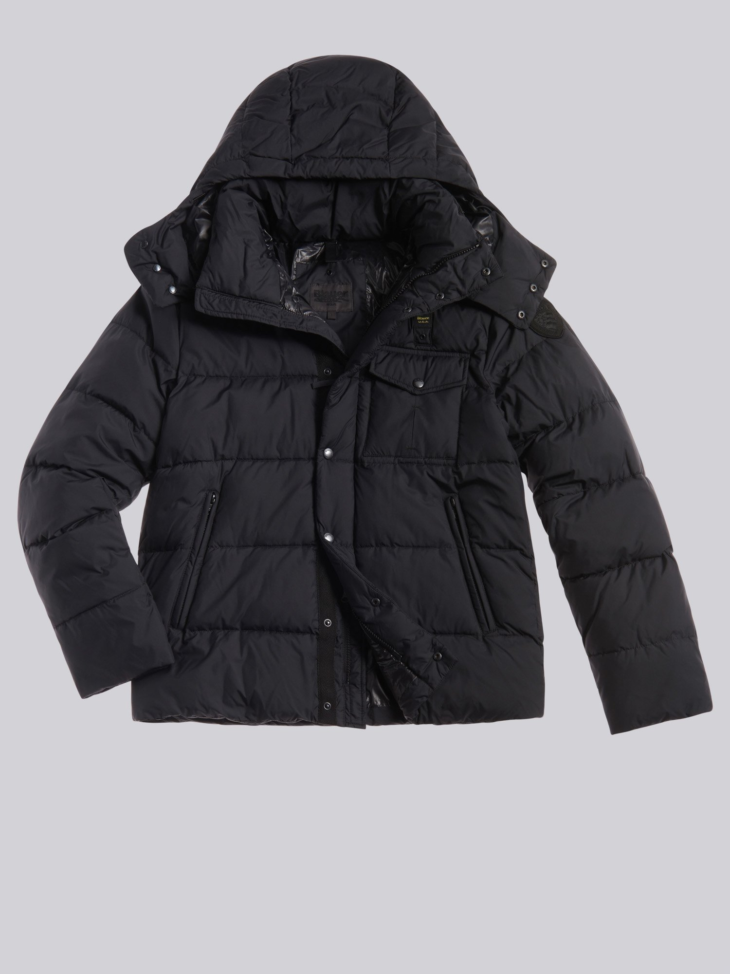 Blauer - STEVE JACKET WITH MIXED PADDING AND DETACHABLE HOOD - Black - Blauer