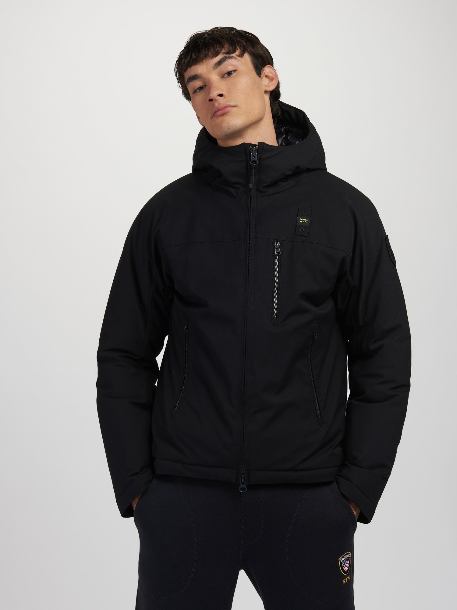 Blauer - TODD WOOL EFFECT DOWN JACKET - Black - Blauer