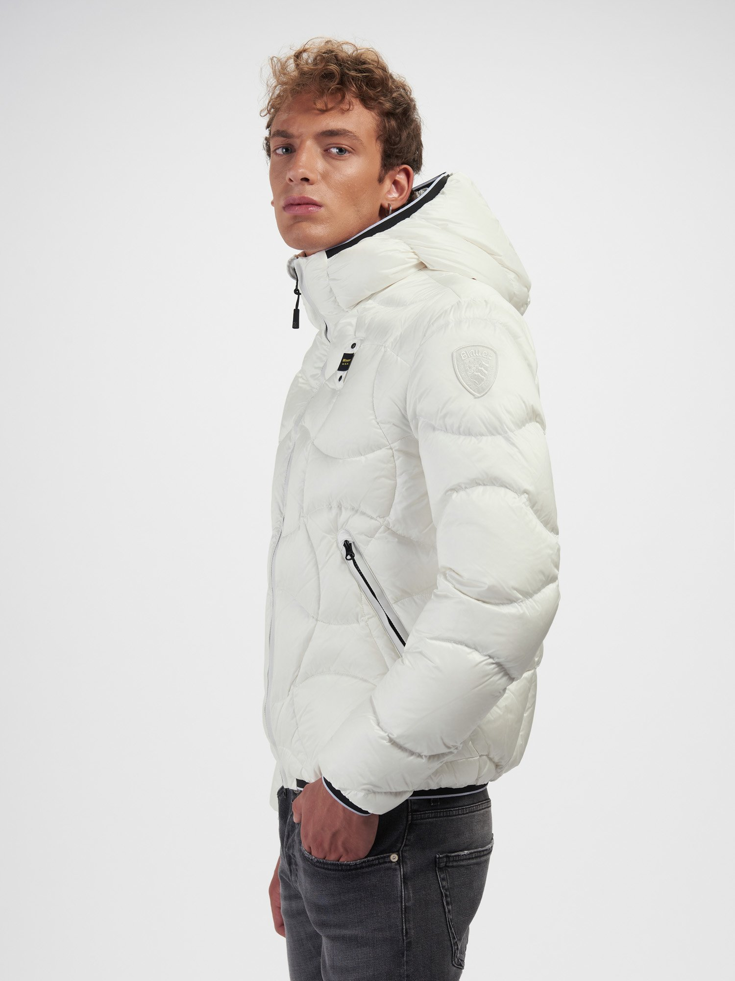 Blauer - BENJAMIN CROSSED-WAVE DOWN JACKET - Snow White - Blauer