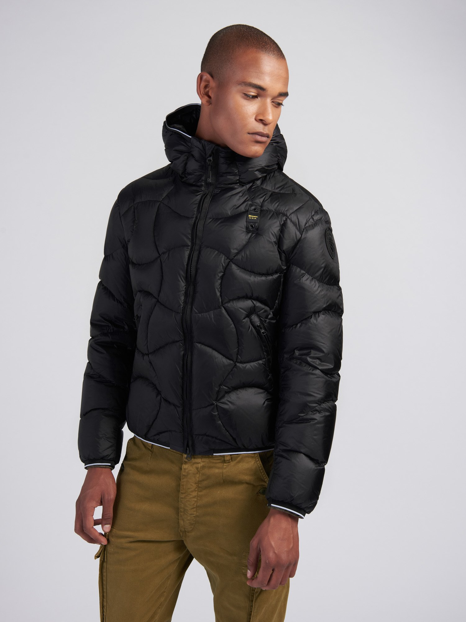 Blauer - BENJAMIN CROSSED-WAVE DOWN JACKET - Black - Blauer