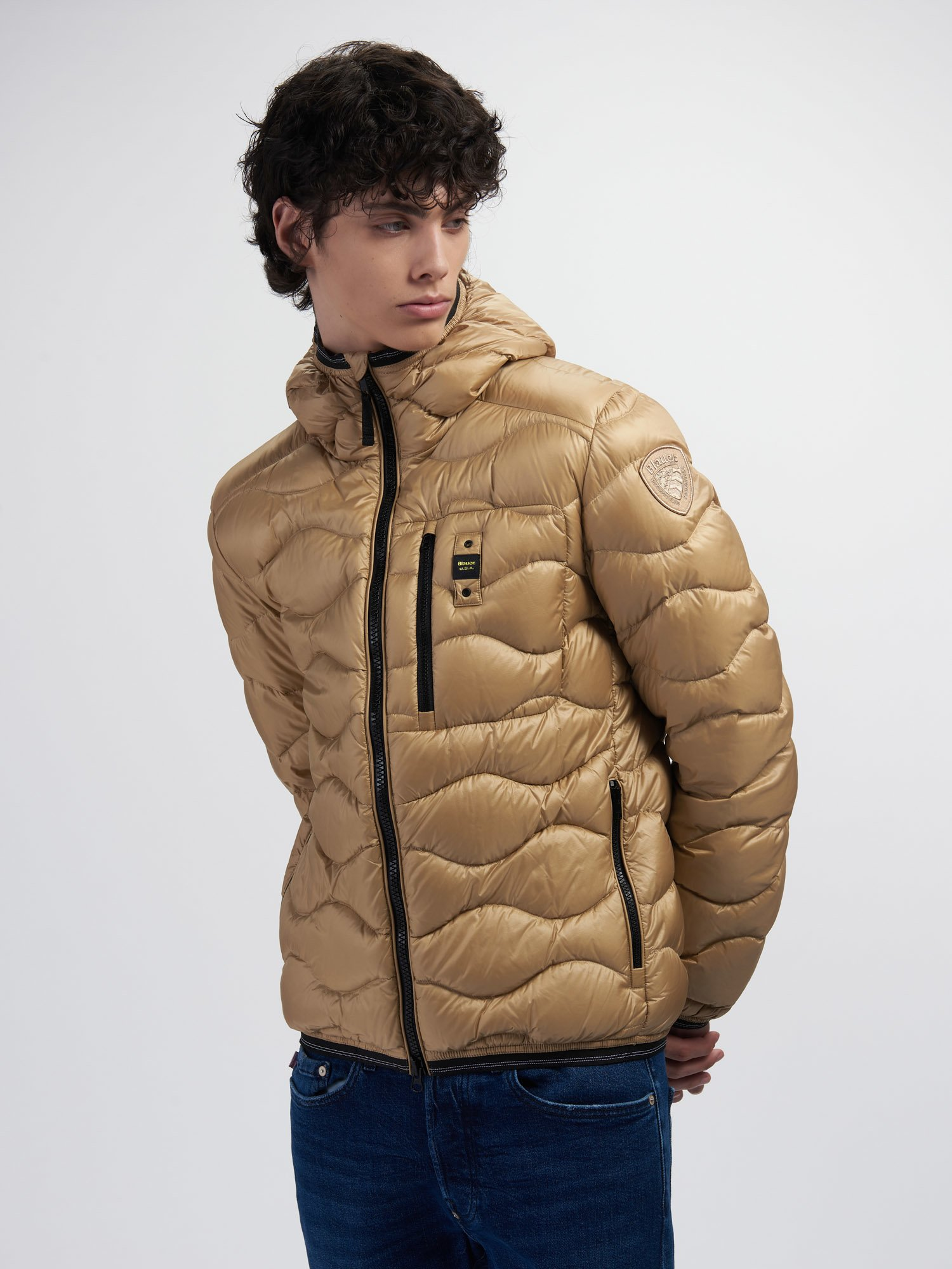 Blauer - ROY WAVE-QUILTED DOWN JACKET - Biscuit - Blauer