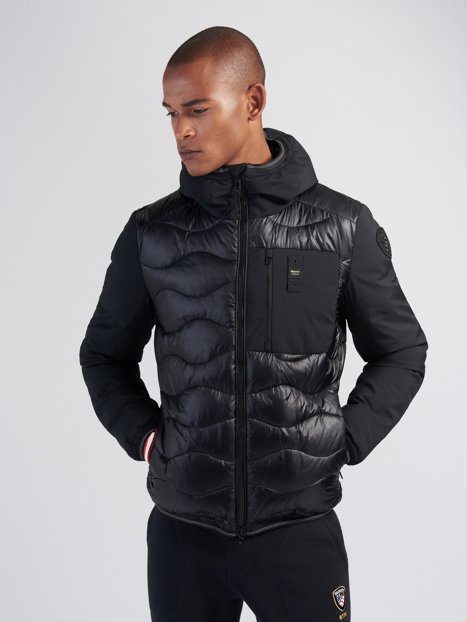 BOBBY NYLON AND NEOPRENE DOWN JACKET WITH HOOD - Blauer