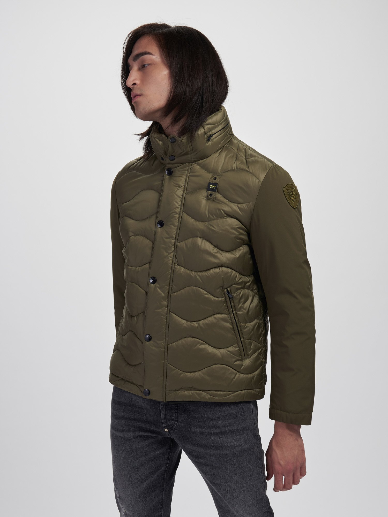 RUSSELL NYLON AND NEOPRENE DOWN JACKET - Blauer
