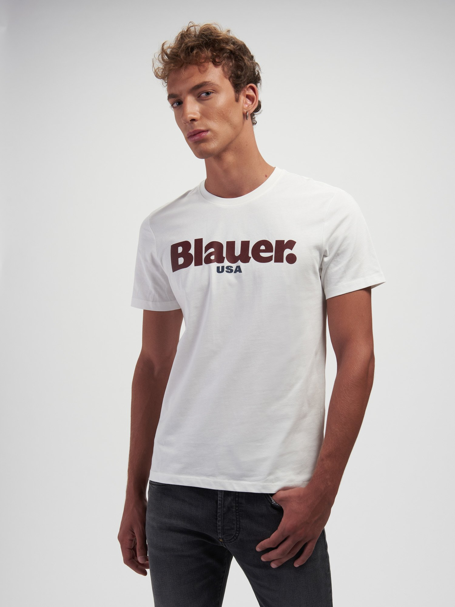 SHORT SLEEVE TWO-TONE LOGO T-SHIRT - Blauer